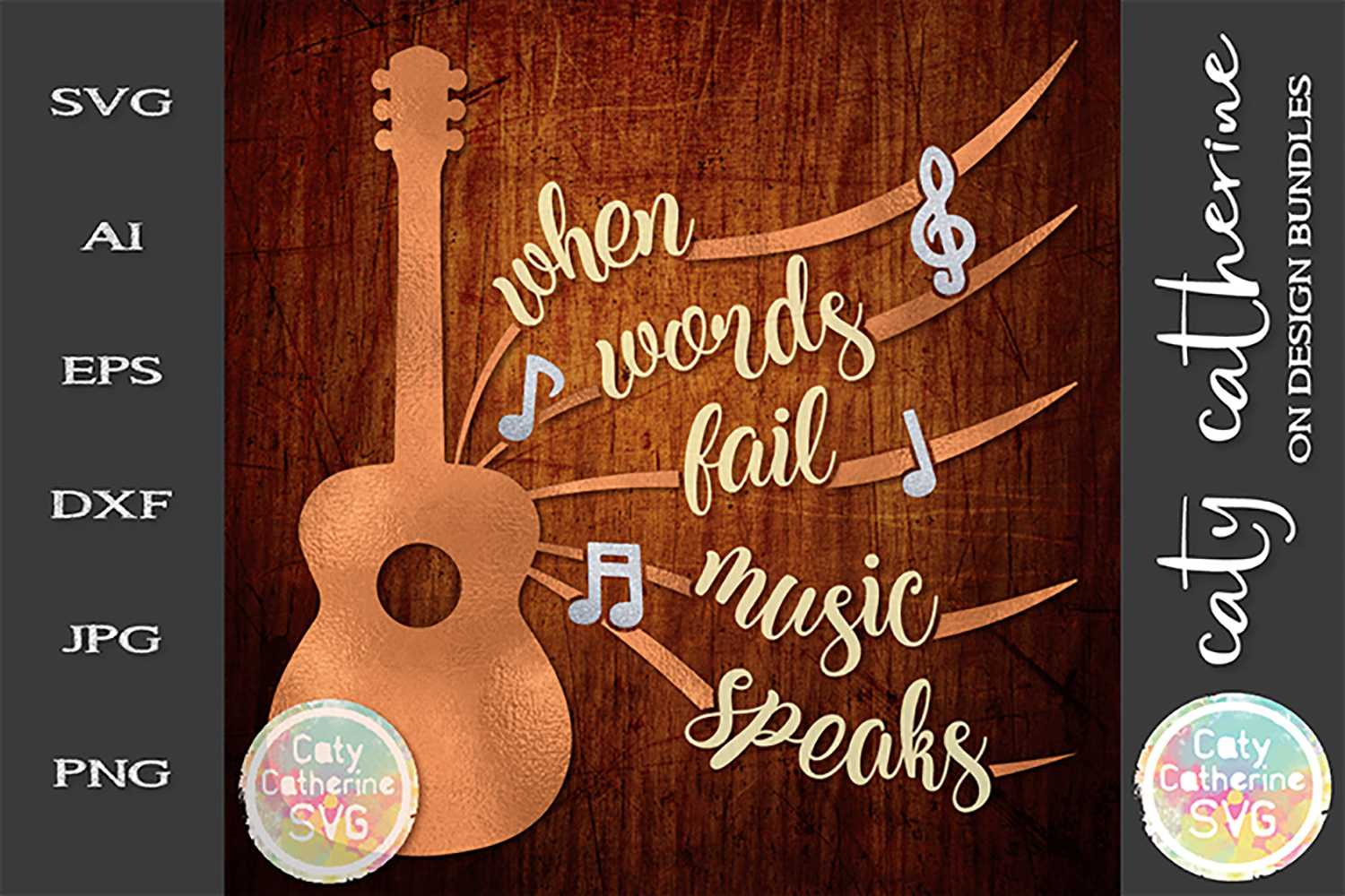 When Words Fail Music Speaks Guitar Muscial Notes SVG example image 1