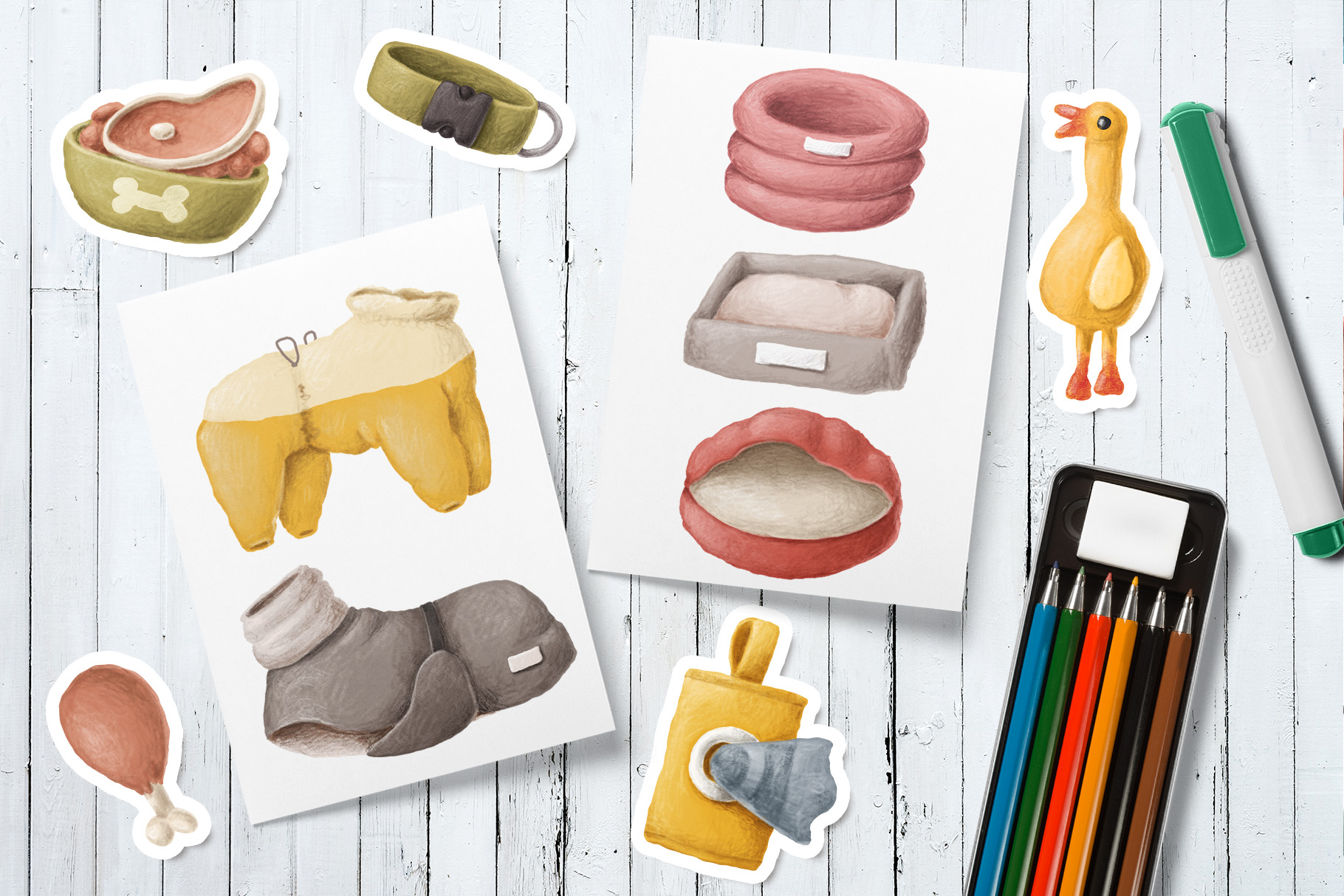 Dog items clipart collection example image 5