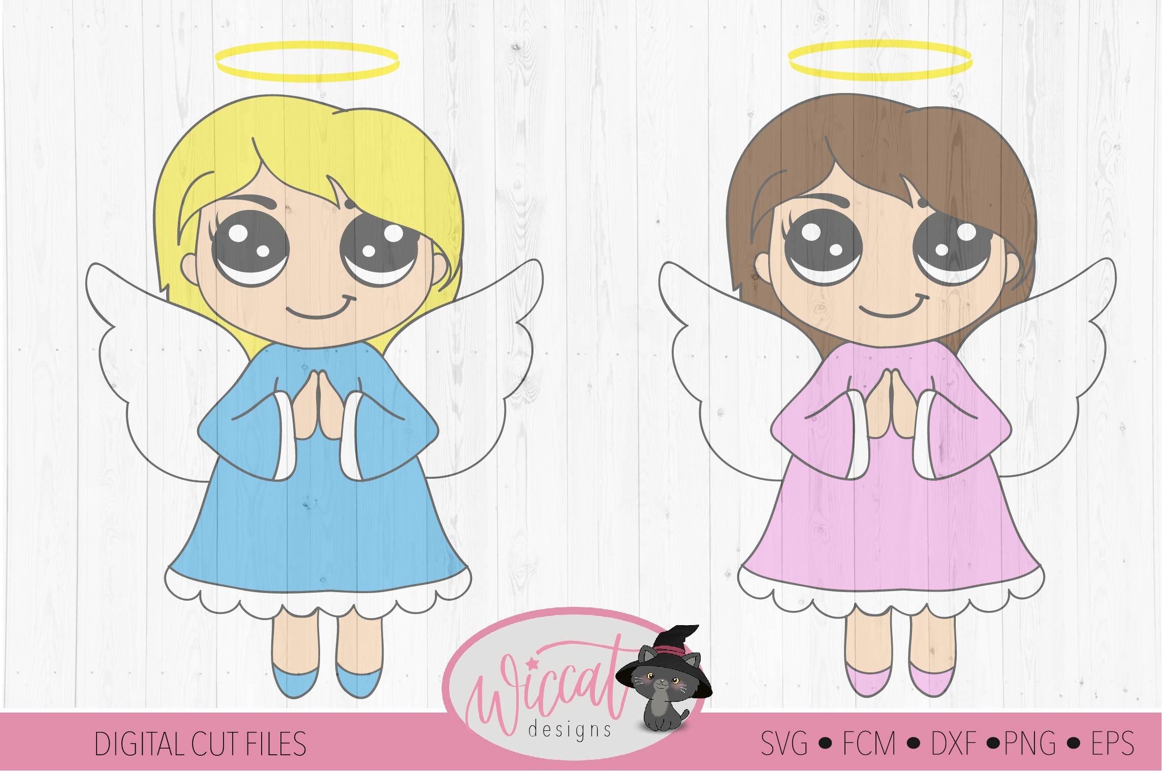Praying Christmas angel, Kawaii angel, Cute angel girl, example image 2