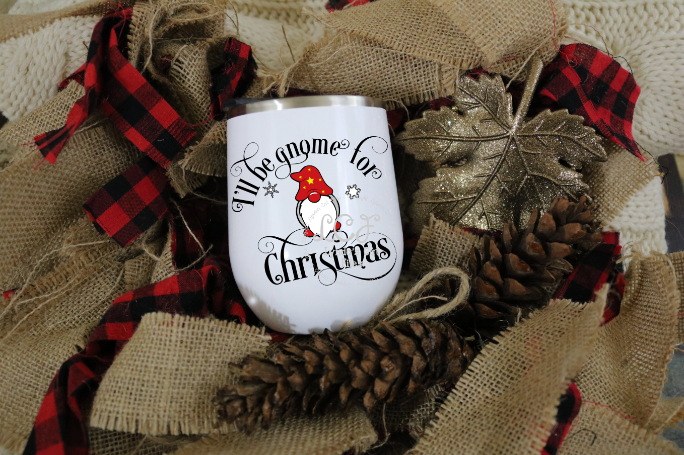 I'll be gnome for Christmas//SVG//EPS//DXF File example image 1
