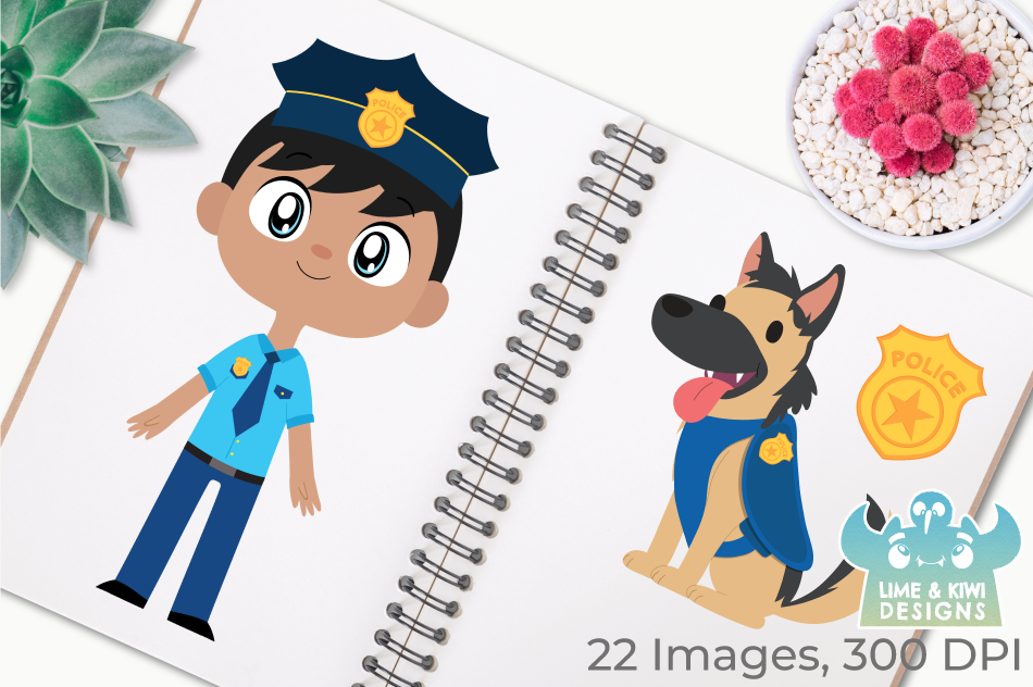Police Cops and Robbers Clipart, Instant Download Vector Art example image 3