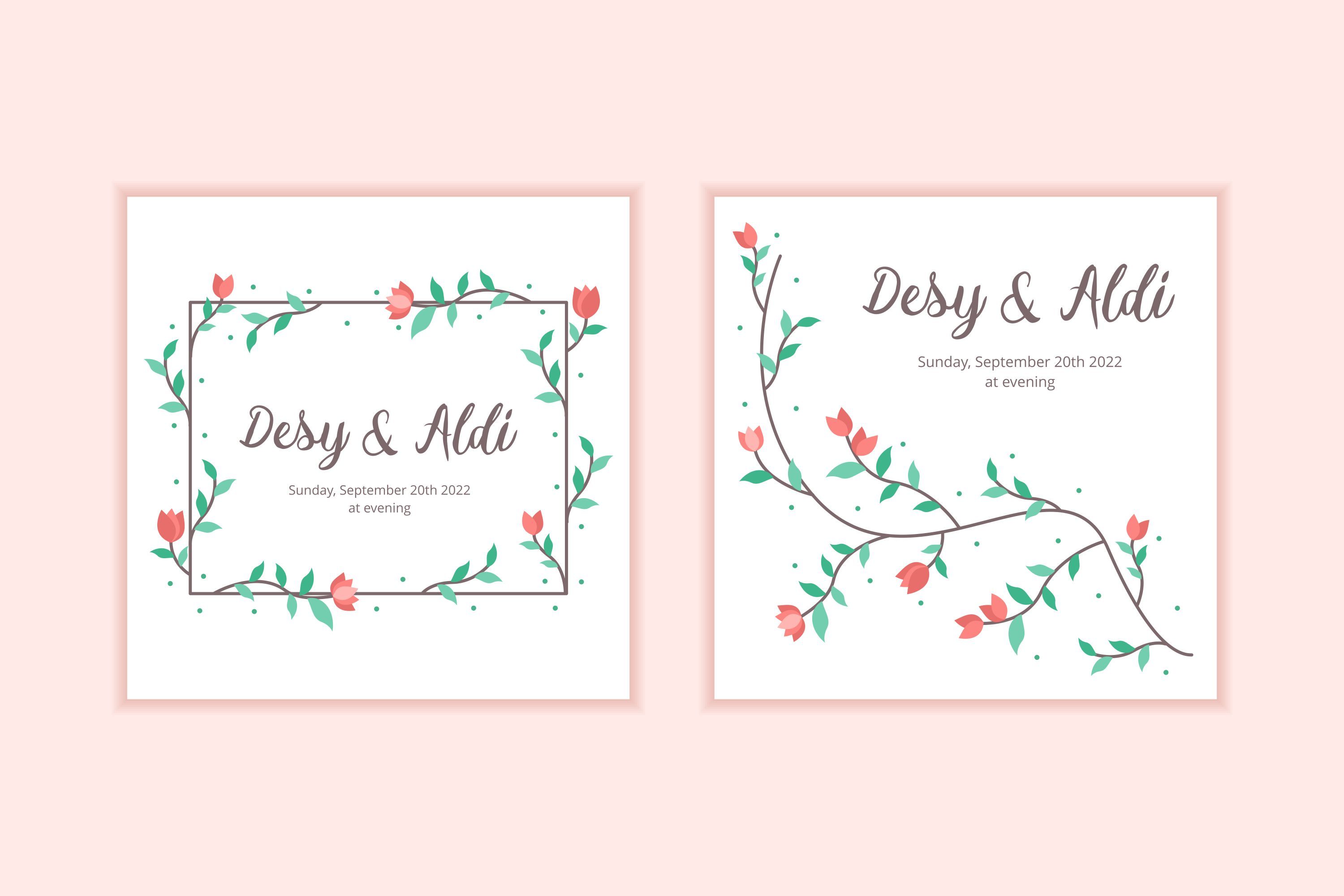 10 Floral Frame Wedding Invitation Template example image 3