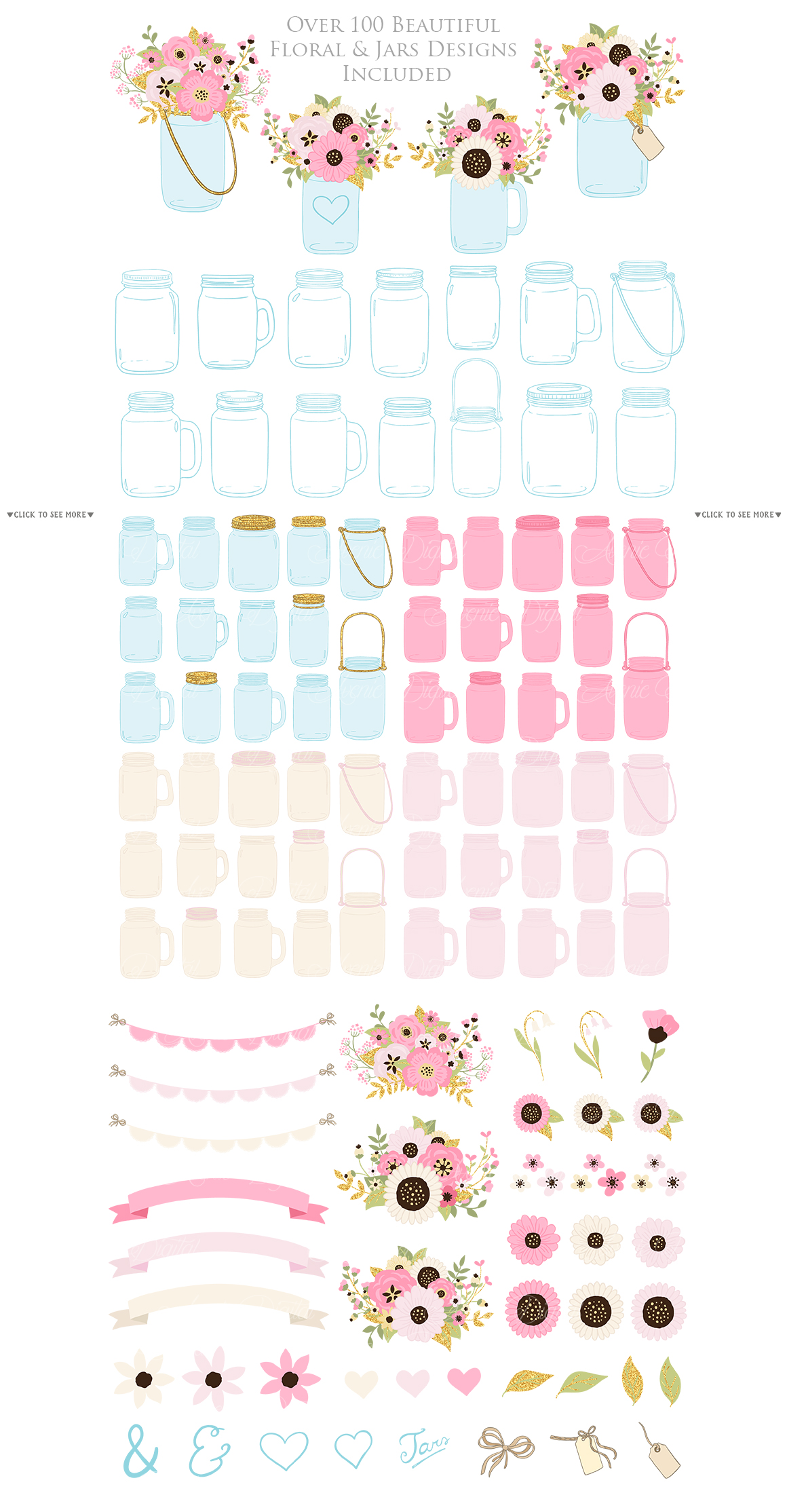 Pink and Gold Mason Jar Floral Wedding Clipart example image 2