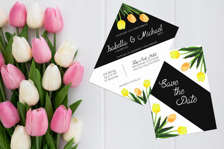 Asymmetric Tulips Wedding Invitation Kit example image 2