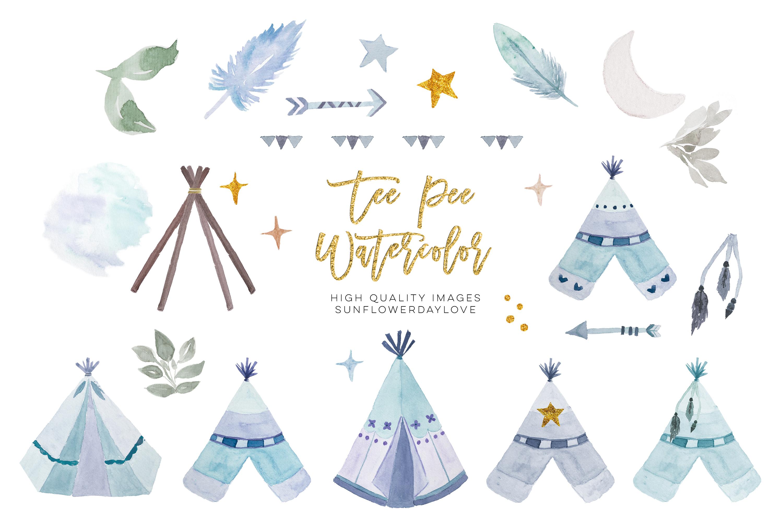 Watercolor boho teepee clip art example image 3