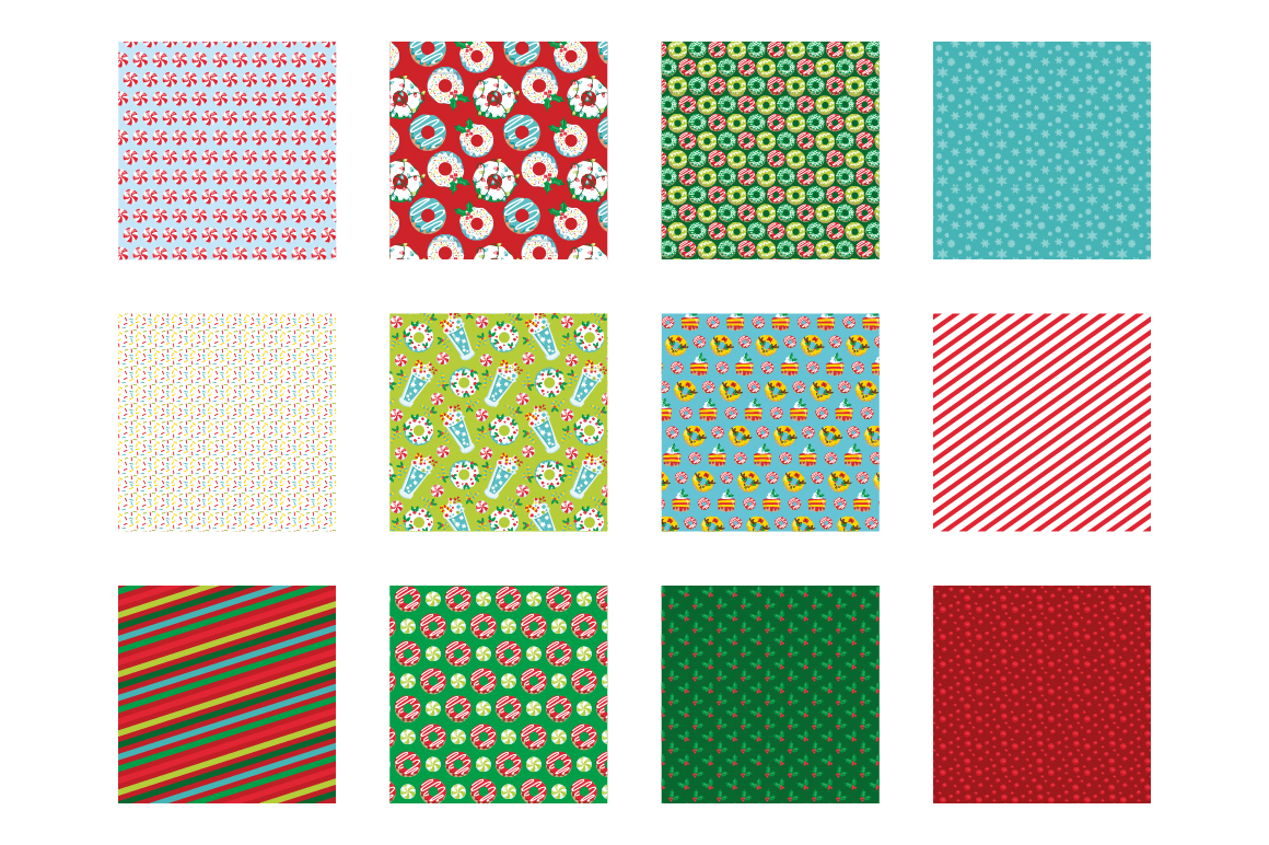 Christmas Sweets Pattern collection, vector ai, example image 2