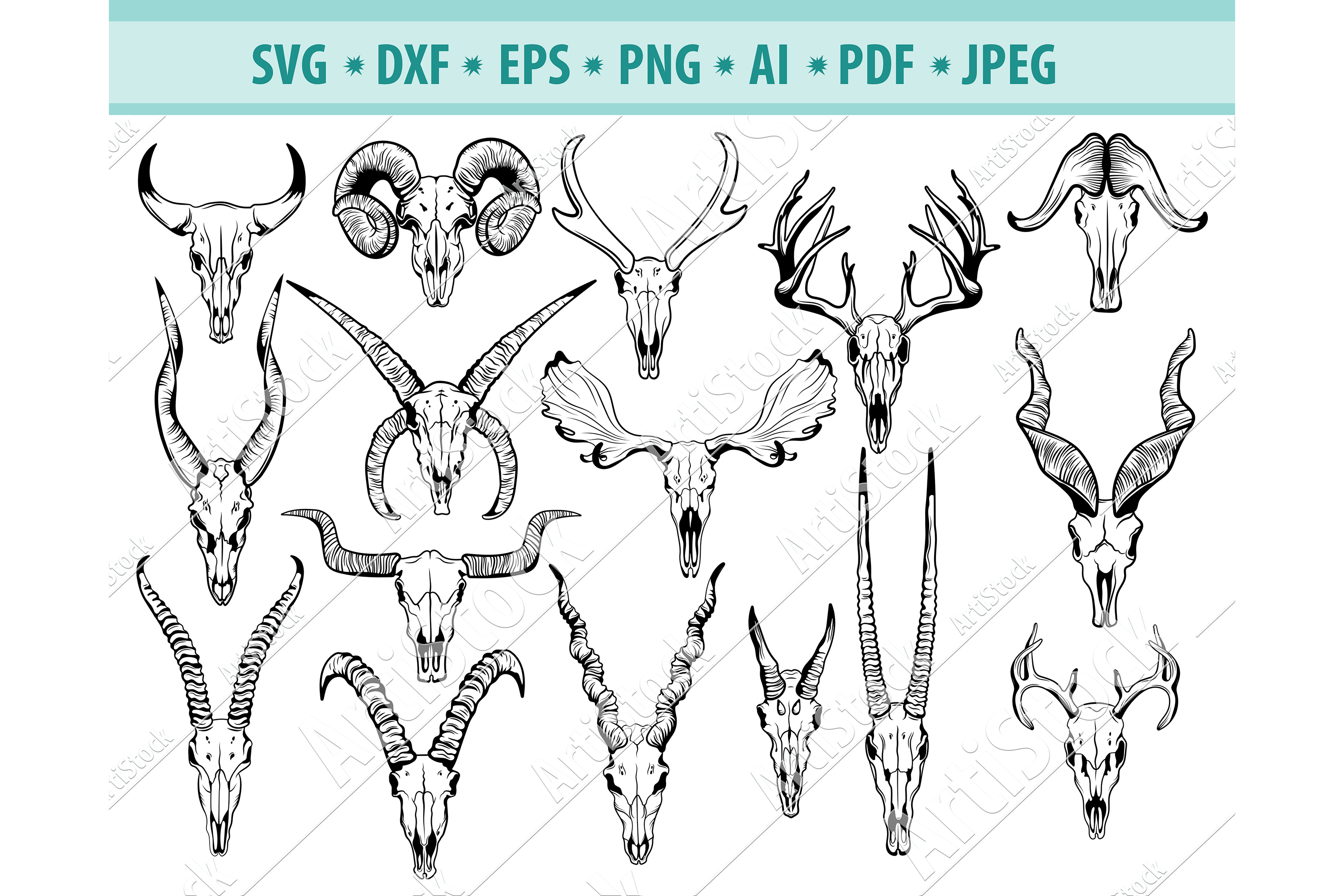 Animal Skull Svg, Hunting Svg, Skull Clipart Dxf, Png, Eps example image 1