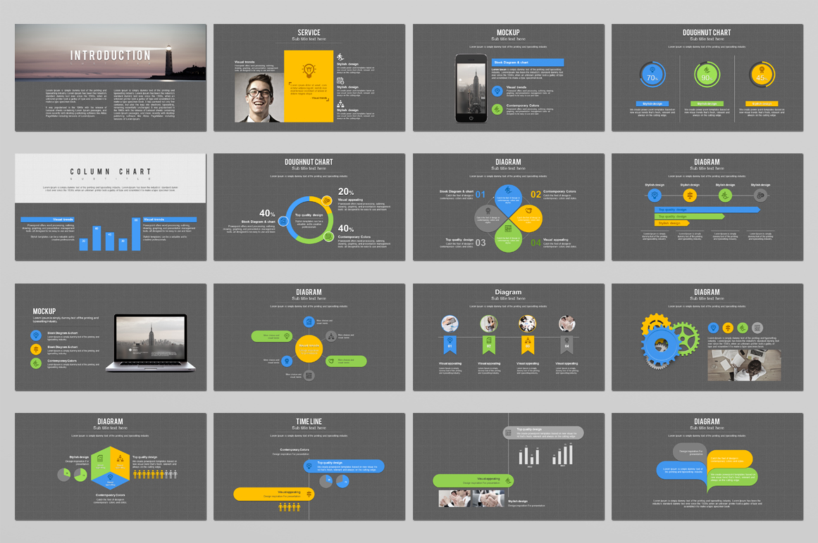 Grid PowerPoint Template example image 3