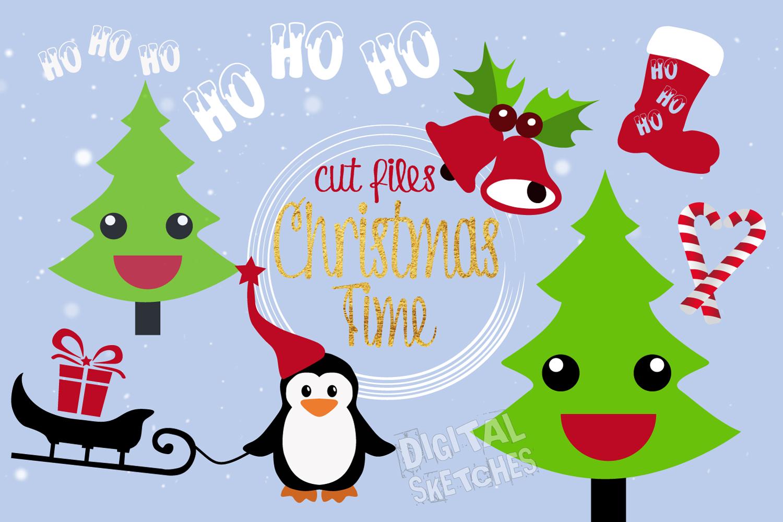 Christmas Cut File Set Penguin Tree Santa Vector Silhouette example image 2