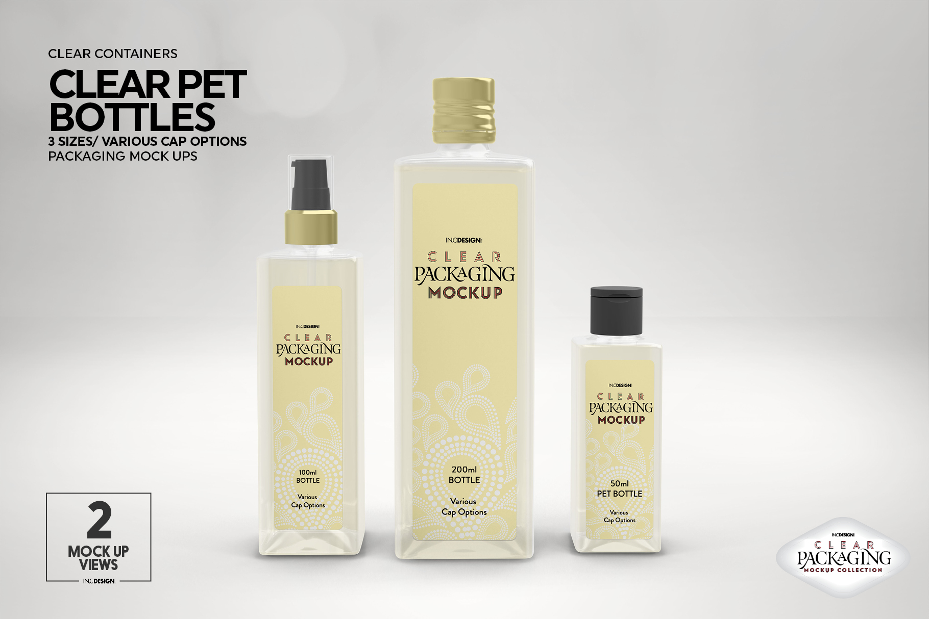 Clear Squared PET 3Bottles Packaging Mockup example image 8