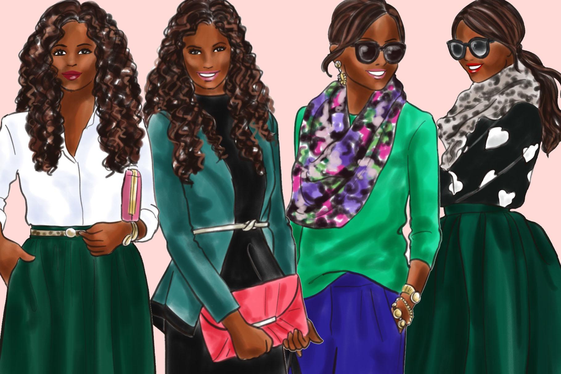 Fashion illustration clipart - Girls in Green 2 - Dark Skin example image 3