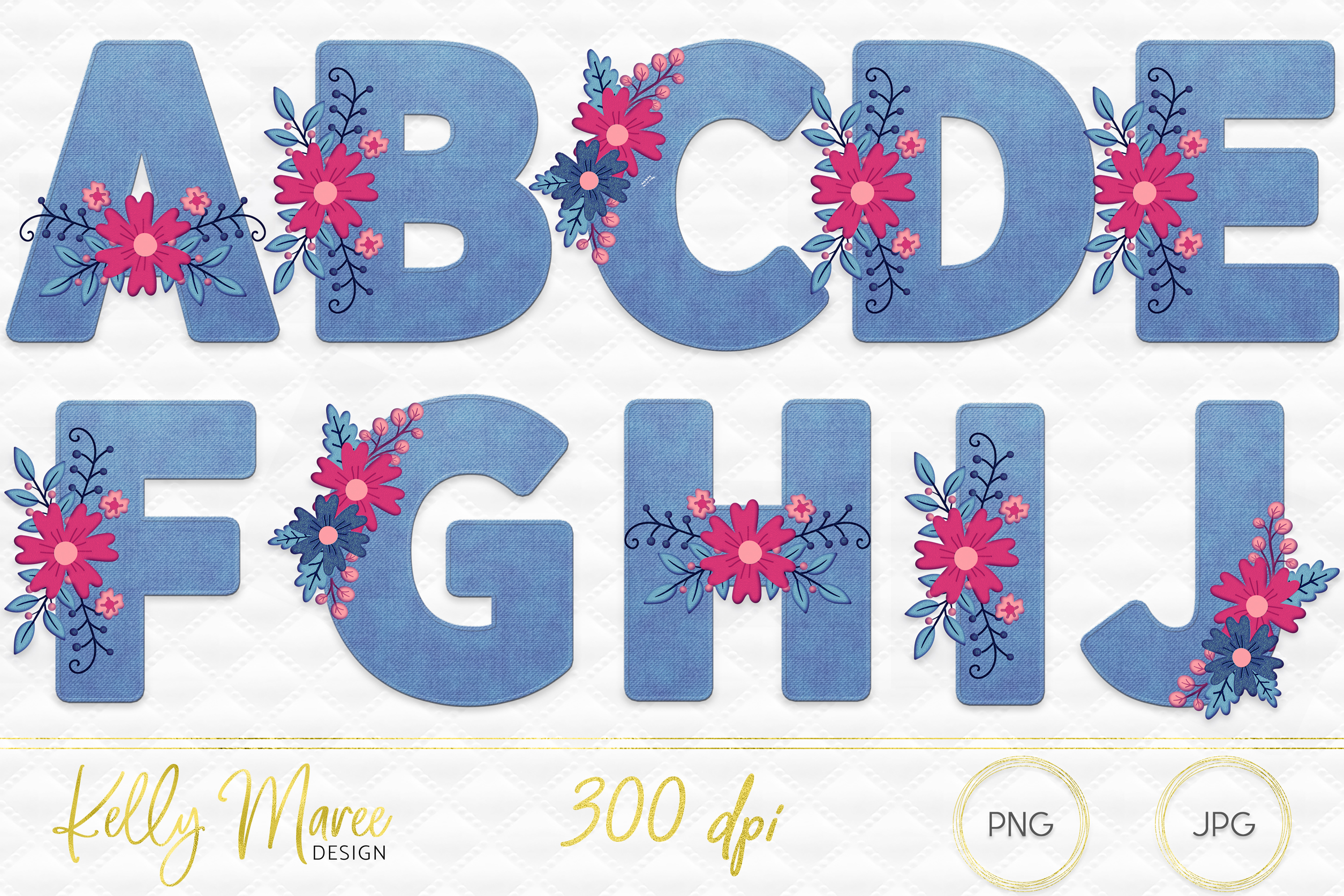 Light Denim & Floral Alphabet Graphic Bundle example image 2