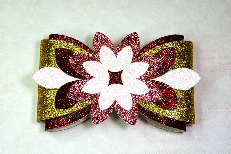 6 Hair bow template SVG, Flower faux leather bow template example image 7