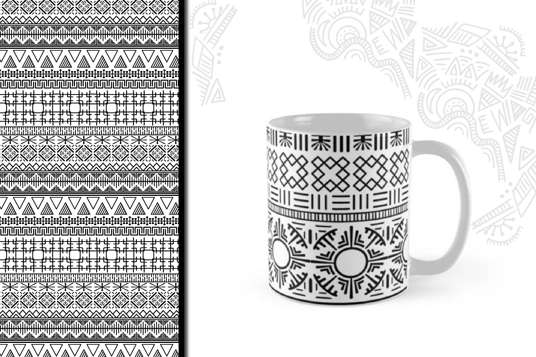 Black and White Ethnic Seamless example image 2