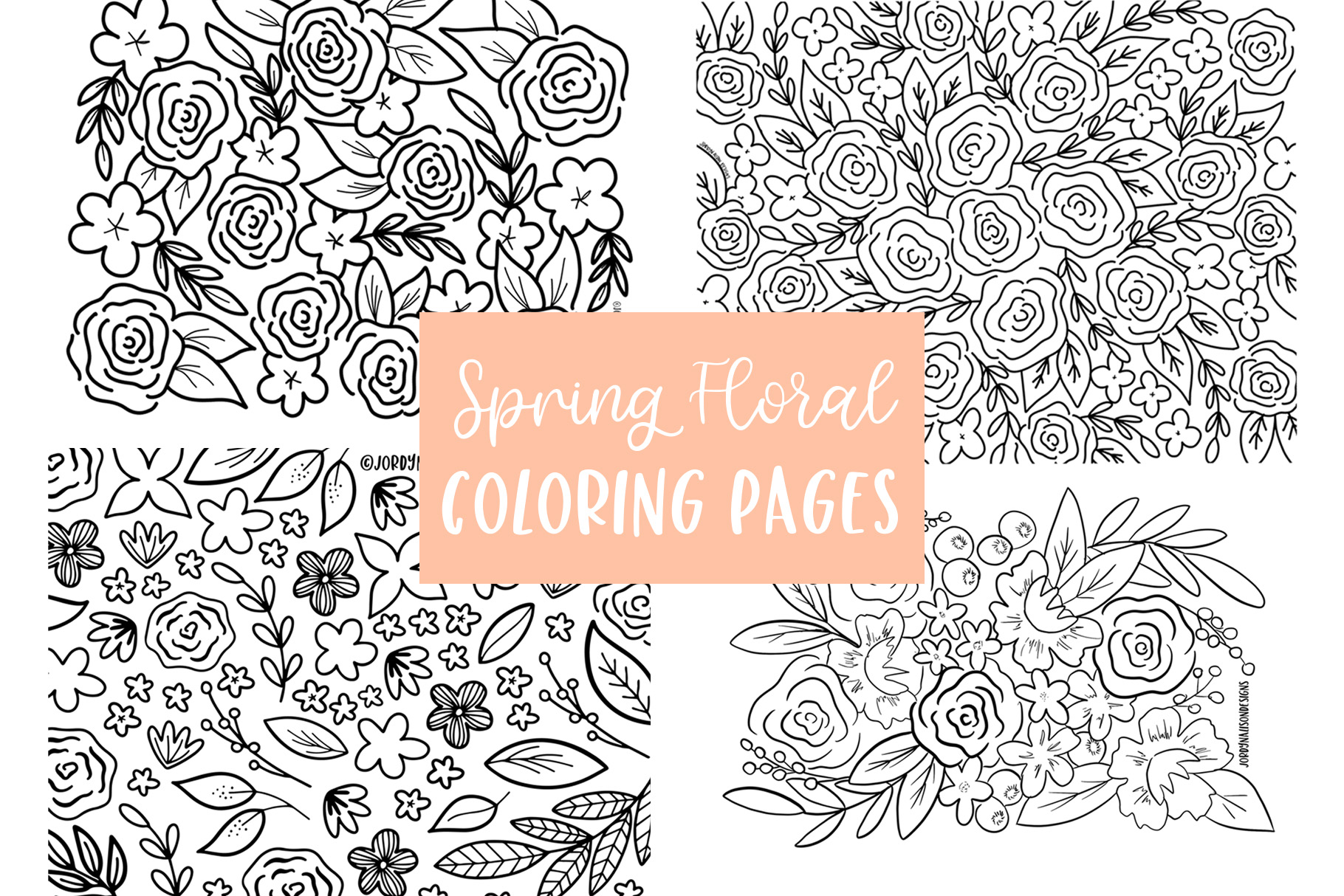 4 Spring Floral Coloring Pages example image 1