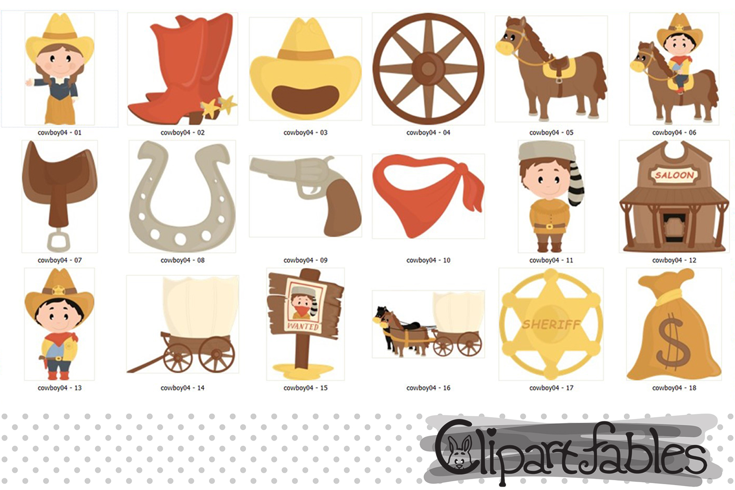 COWBOY clipart, Western clip art, cute sheriff art - INSTANT example image 2