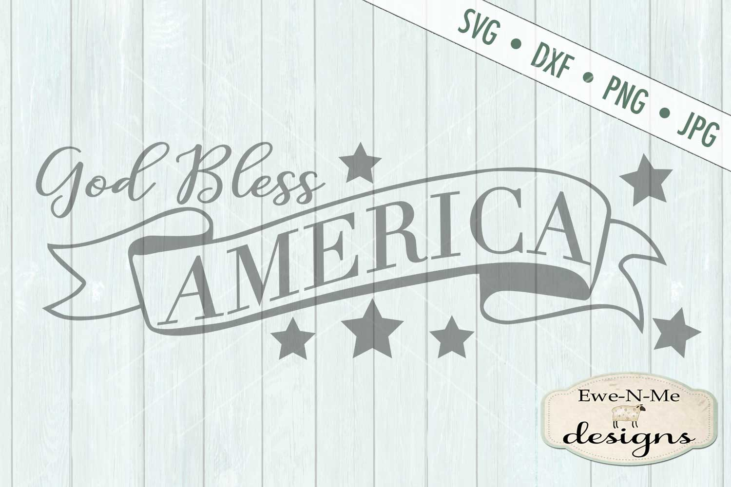 God Bless America SVG DXF Files example image 2