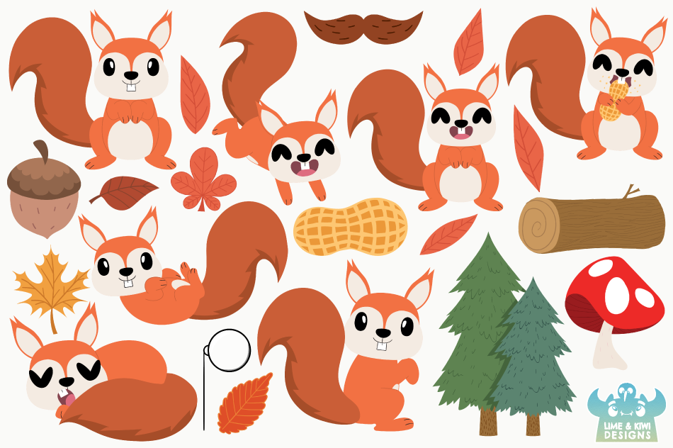 Squirrel Boys Clipart, Instant Download Vector Art example image 2