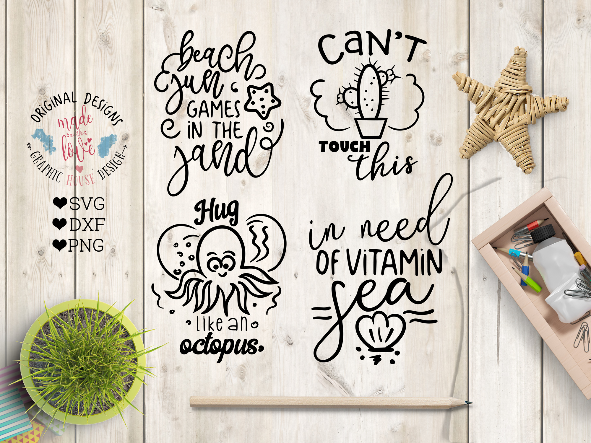 Summer SVG Summer Quotes Summer Cut Files Bundle and Doodles example image 4