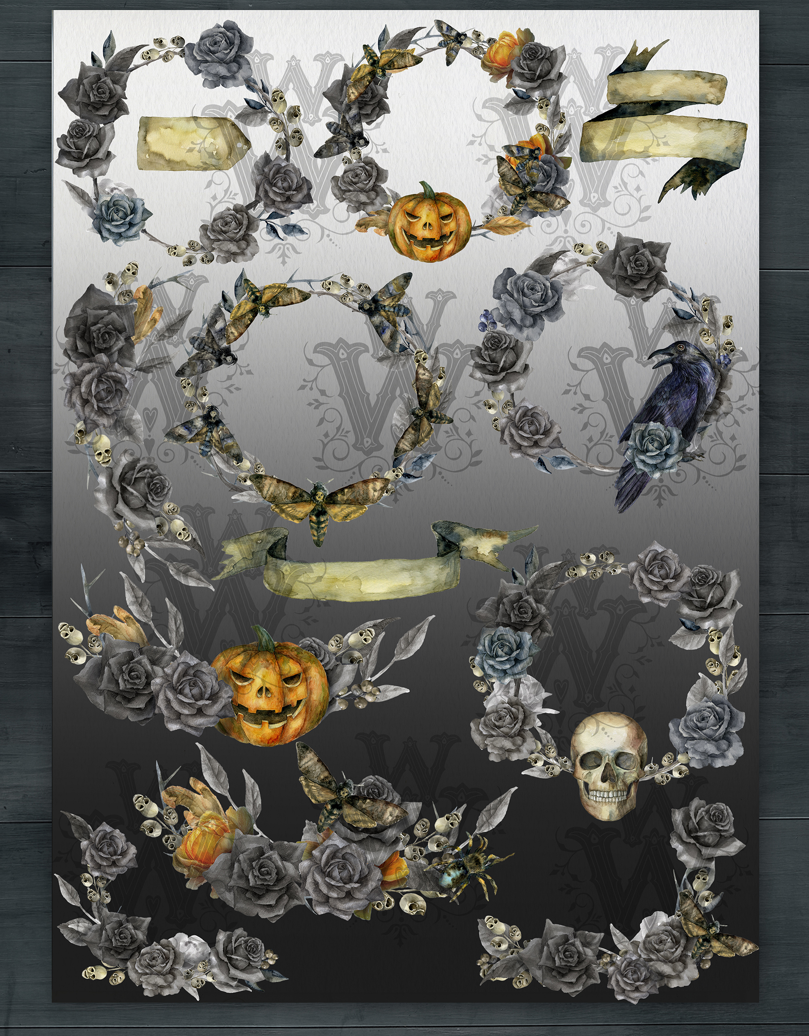 Watercolor Halloween compositions, skull bouquets wreath example image 2