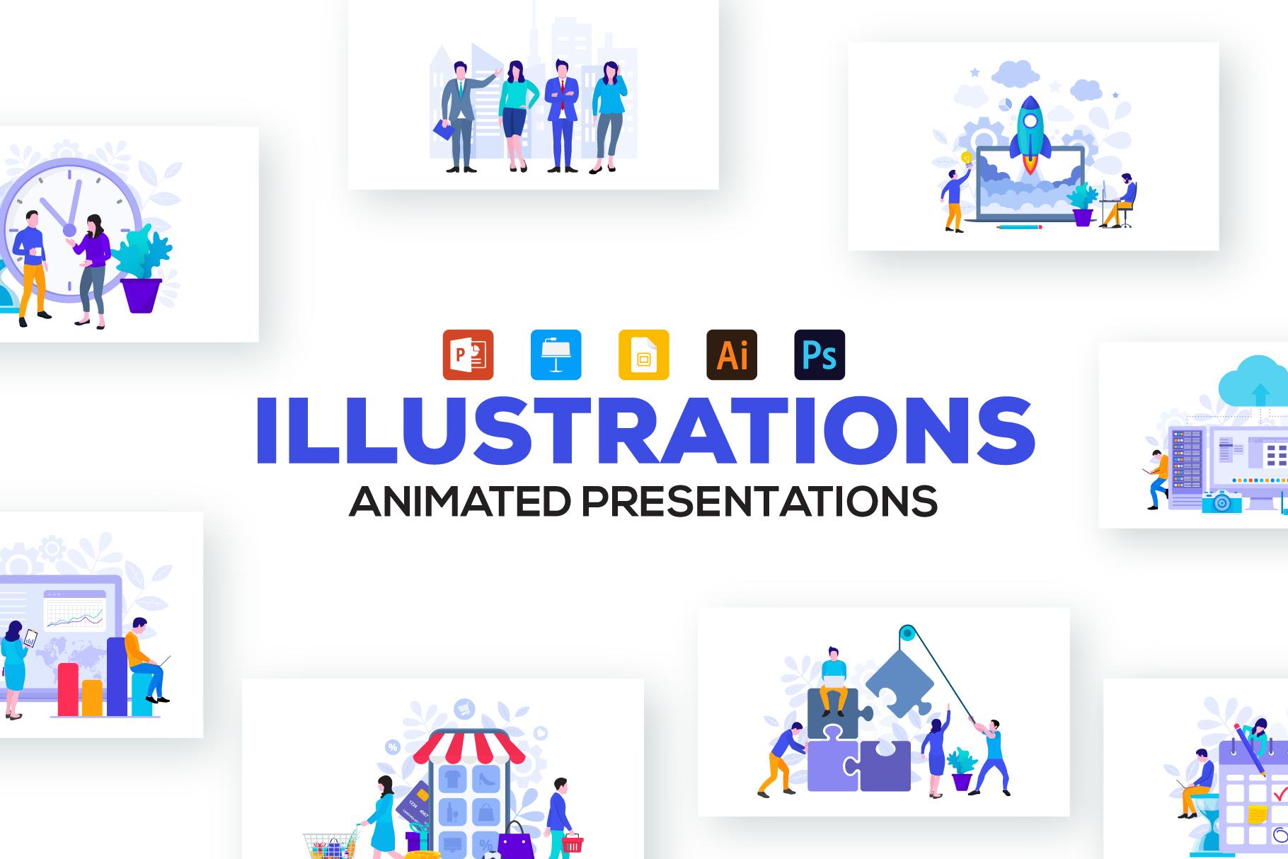 Flat animated illustrations example image 1