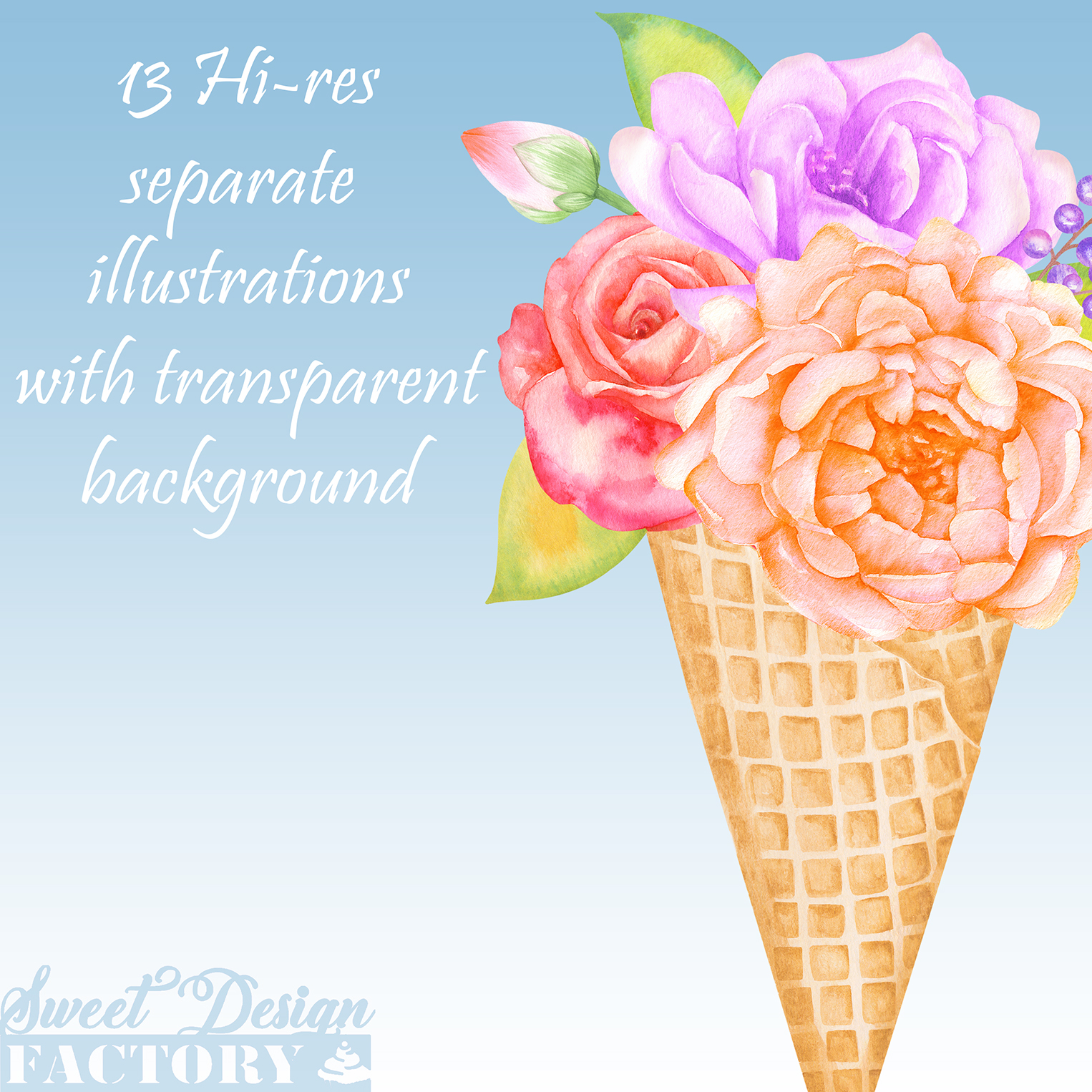 Watercolor floral clipart example image 6