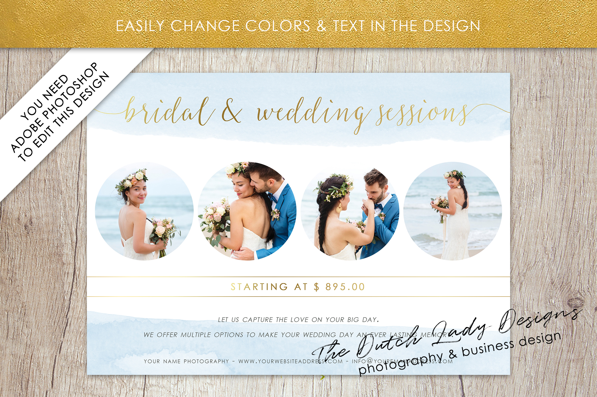 PSD Wedding Photo Session Card Template - Design #34 example image 3