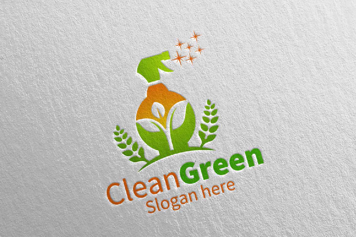 Cleaning Service Logo Eco Friendly example image 2