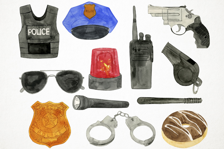 Watercolor Police Clipart, Police Graphics, Police Vector example image 2