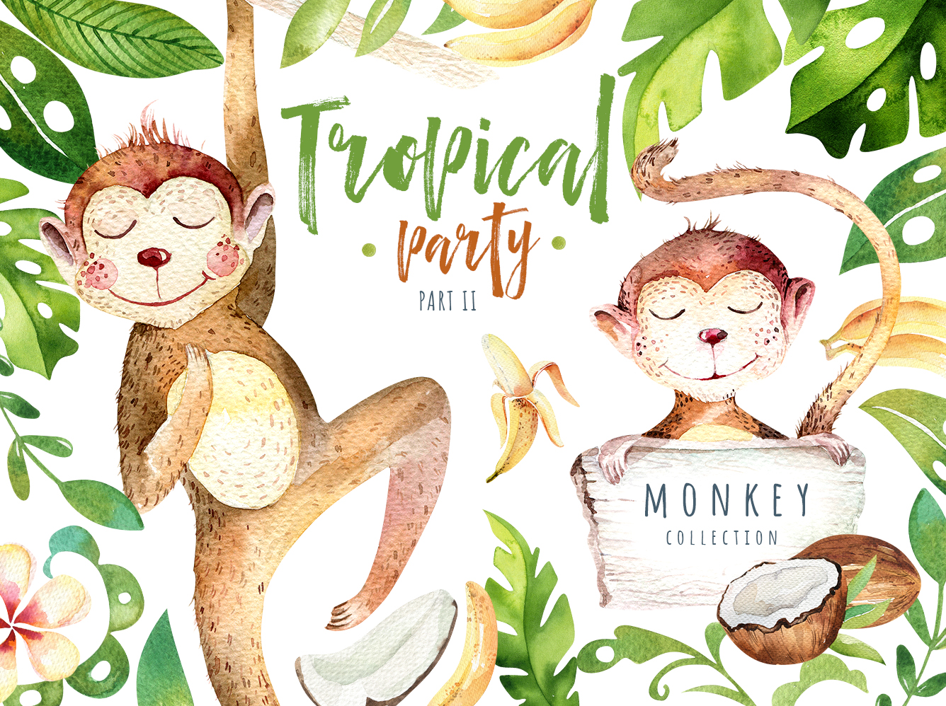 Tropical party II. Monkey collection example image 1