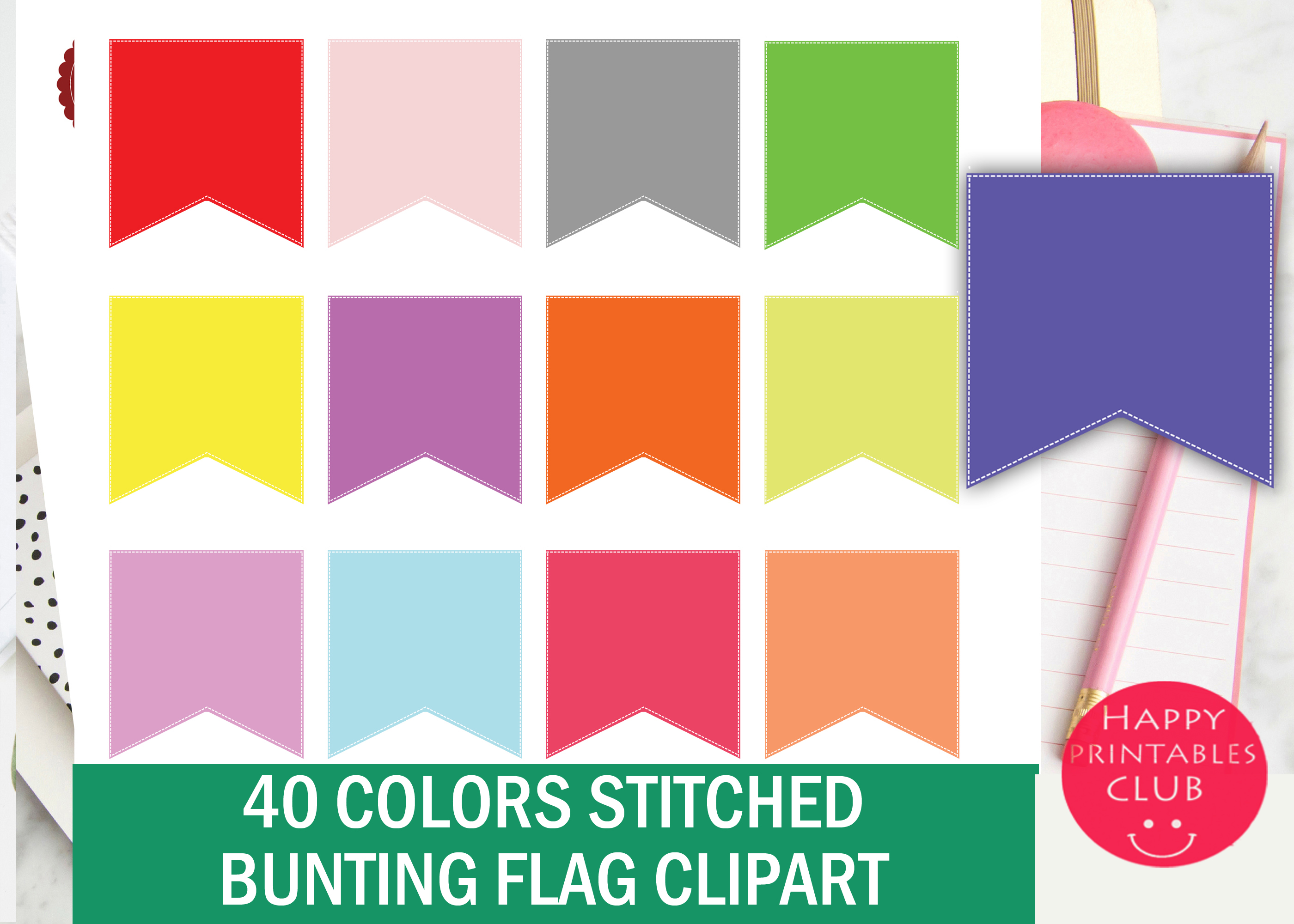 40 Colors Stitched Bunting Flag Clipart example image 2