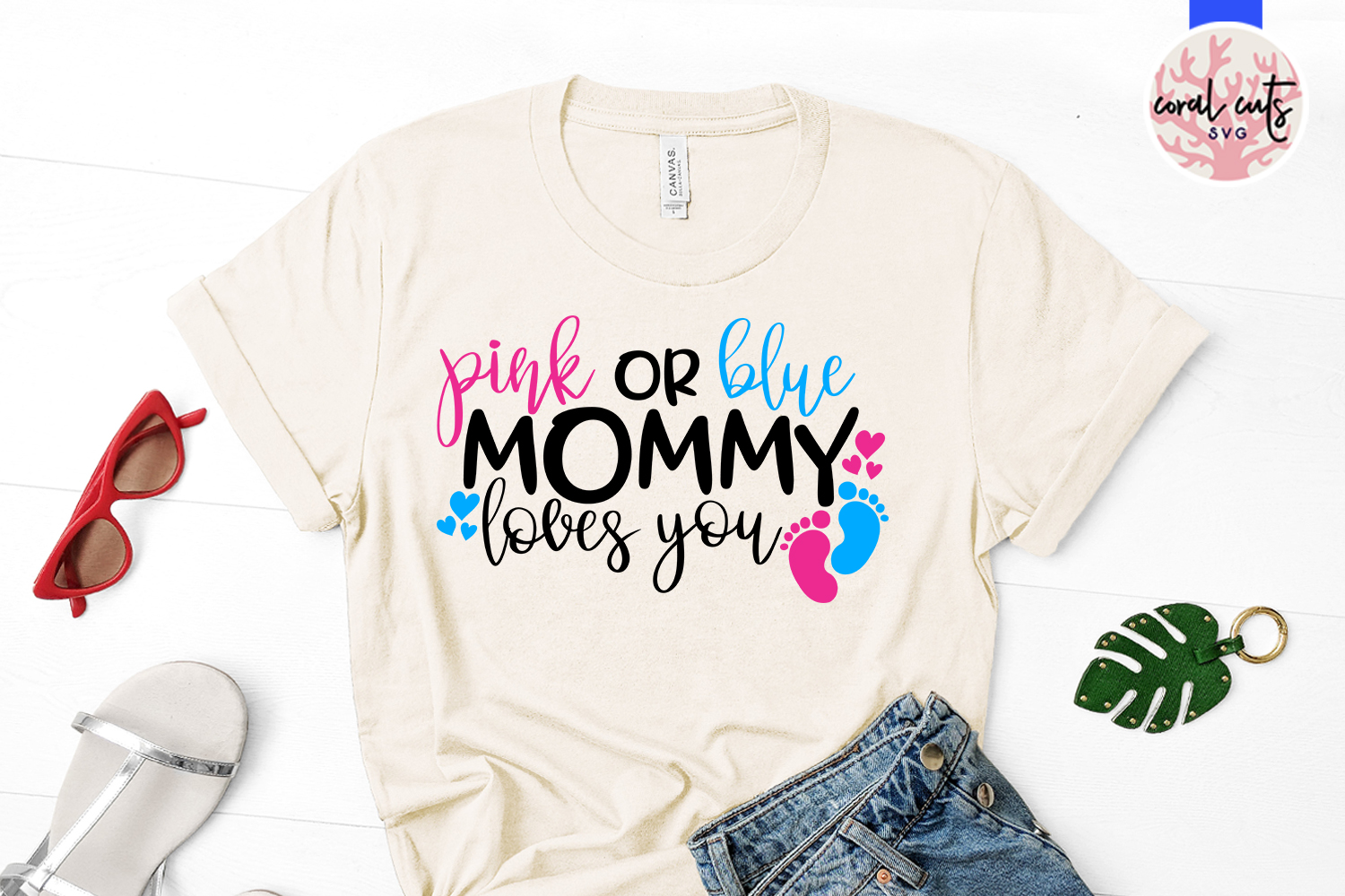 Pink or blue mommy loves you - Baby Shower SVG EPS DXF PNG example image 2