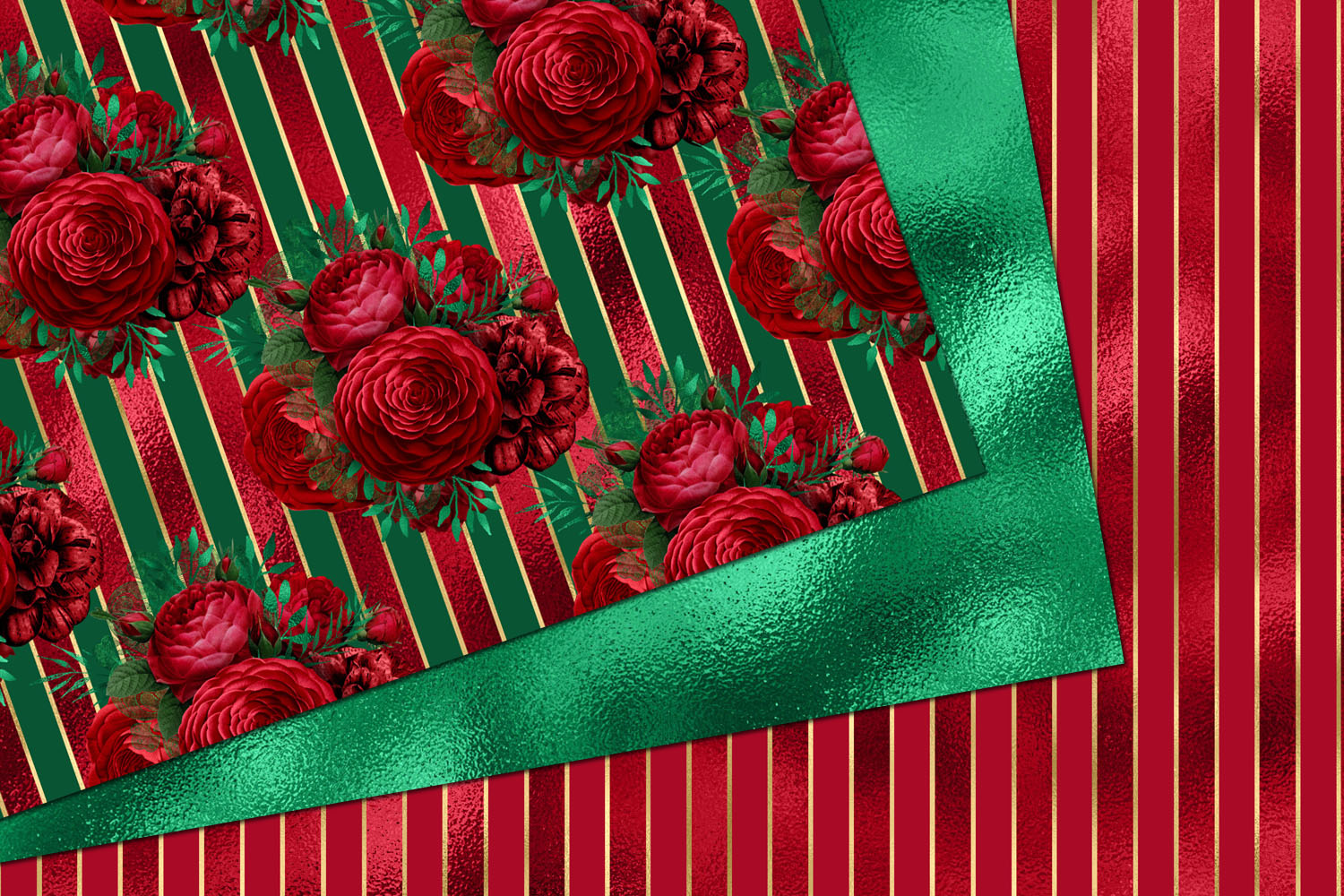 Red and Green Floral Digital Paper example image 3