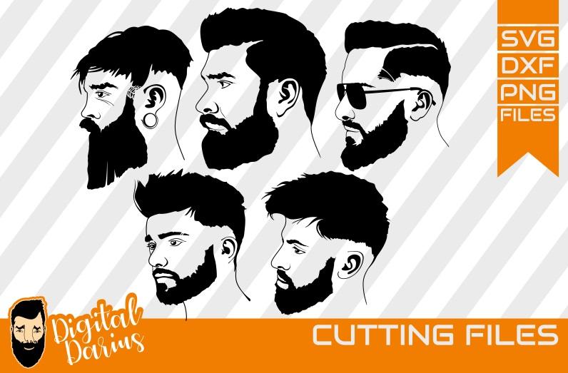 5x Beard Man face SVG, Man svg, hipster beard svg, Circuit example image 1