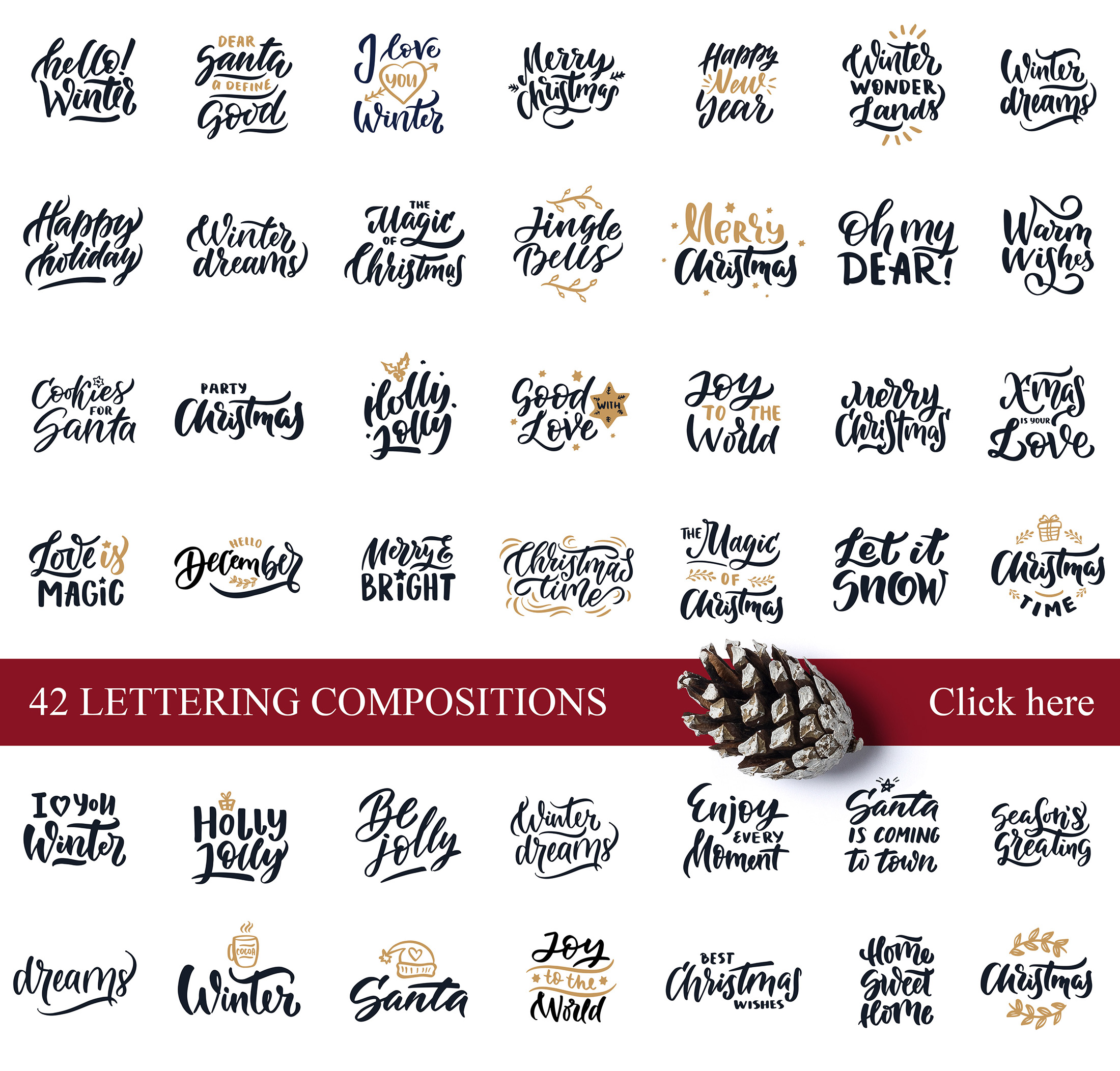 Christmas time lettering pack example image 6