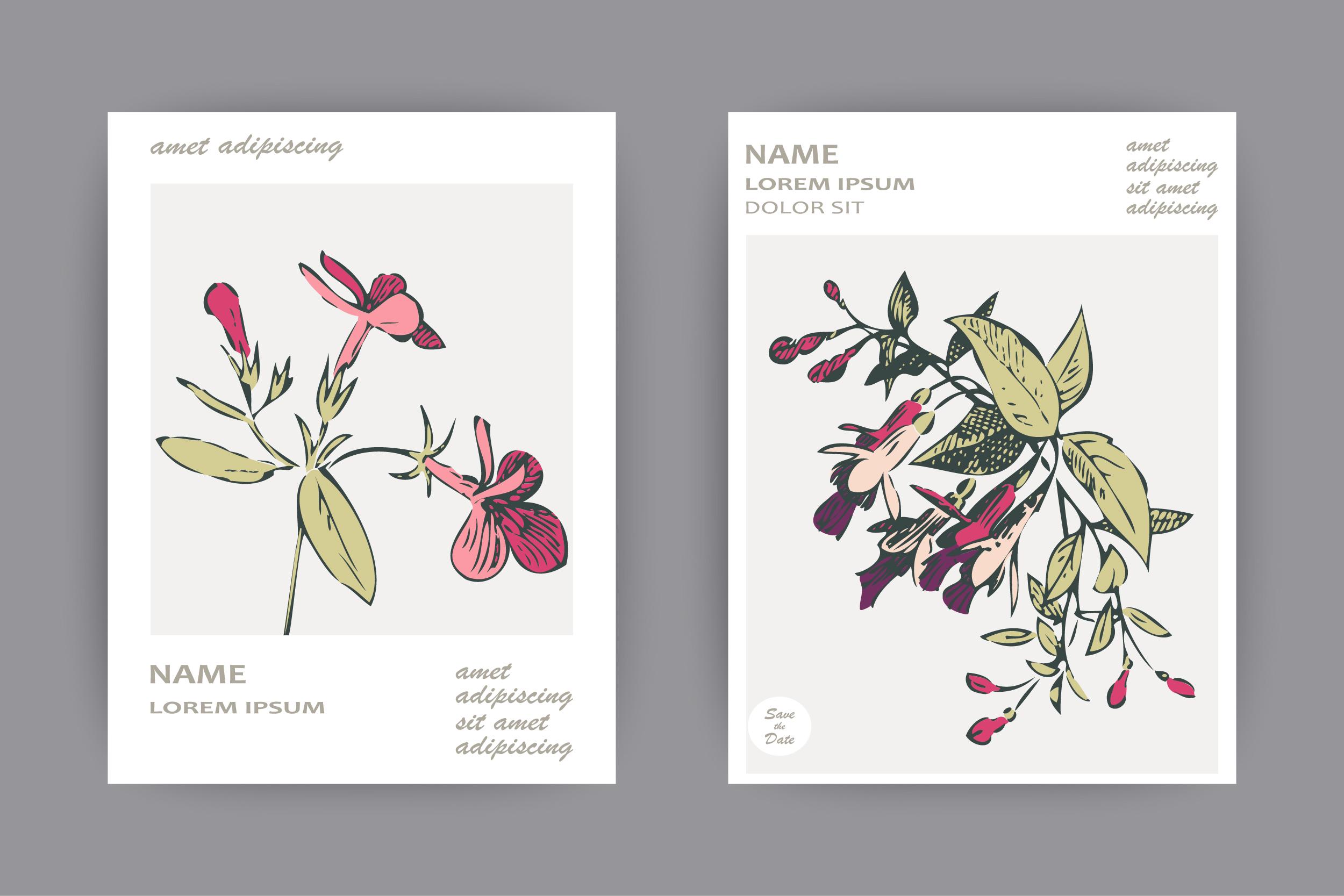 Fuchsia flowers wedding invitation card template design example image 4