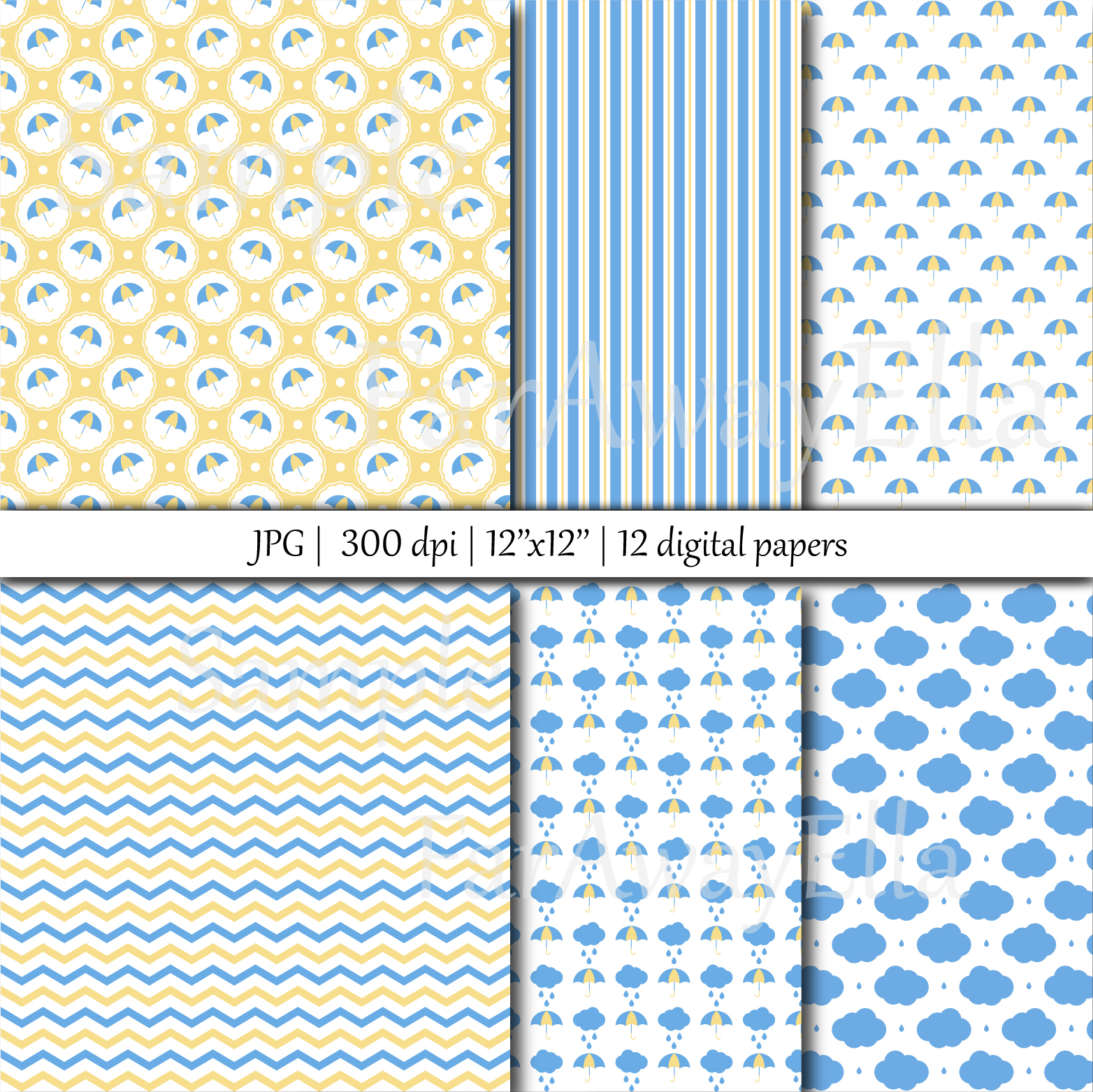 Baby shower blue and yellow JPG digital paper | Seamless example image 3