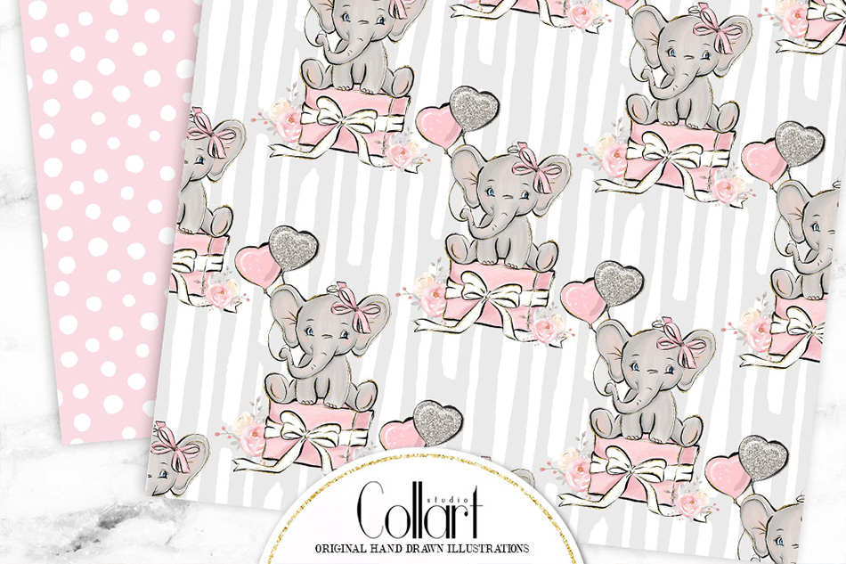 Elephant digital paper, baby girl papers, seamless patterns example image 3