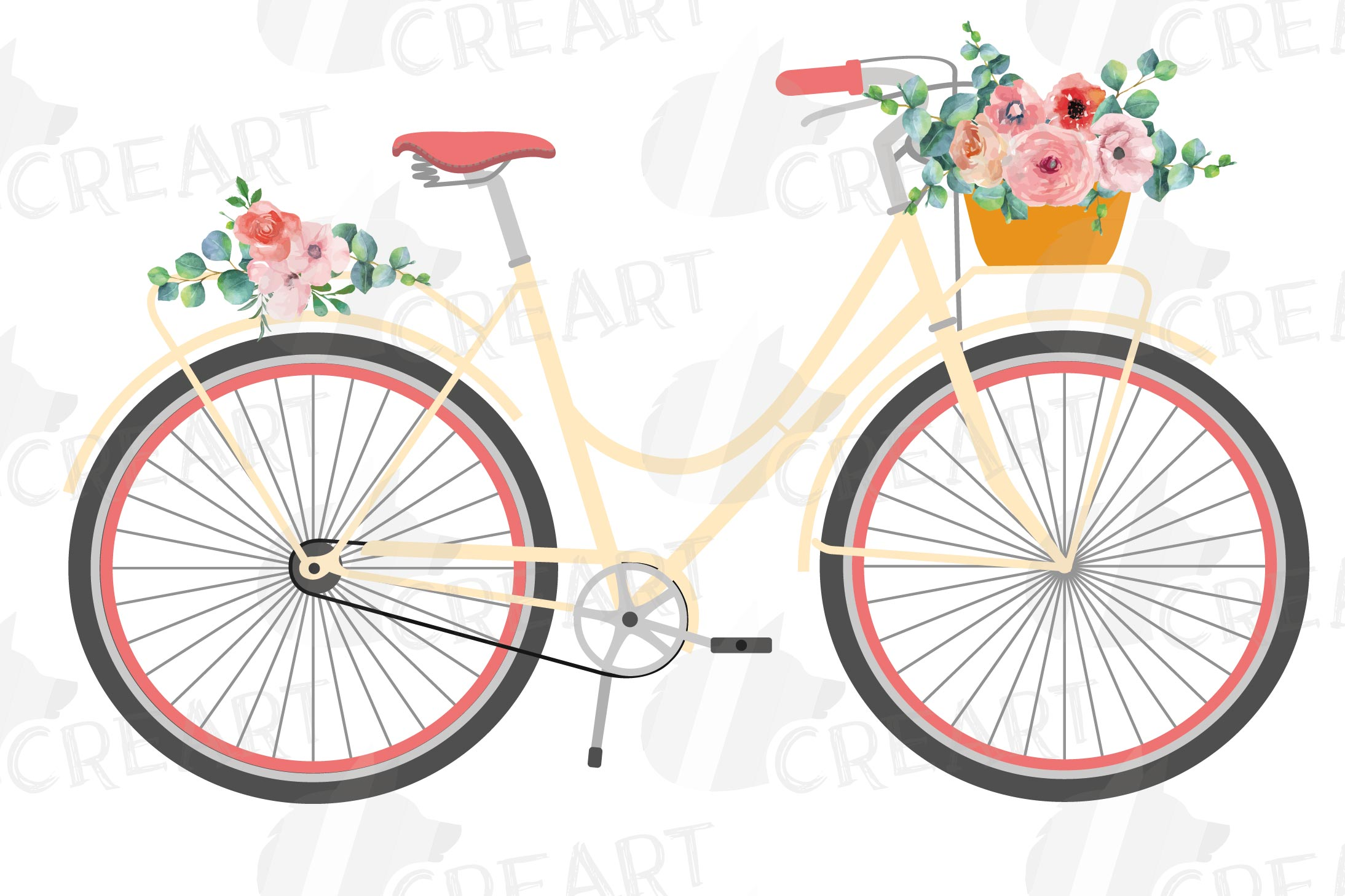 Floral bicycles clip art pack, blush floral and eucalyptus example image 2