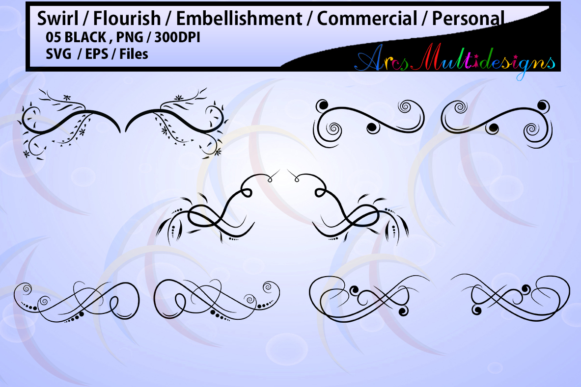embellishment / swirl / flourish / COMMERCIAL USE / Personal use / SVG / Eps / Png / high quality printable / wedding / for crafts example image 1