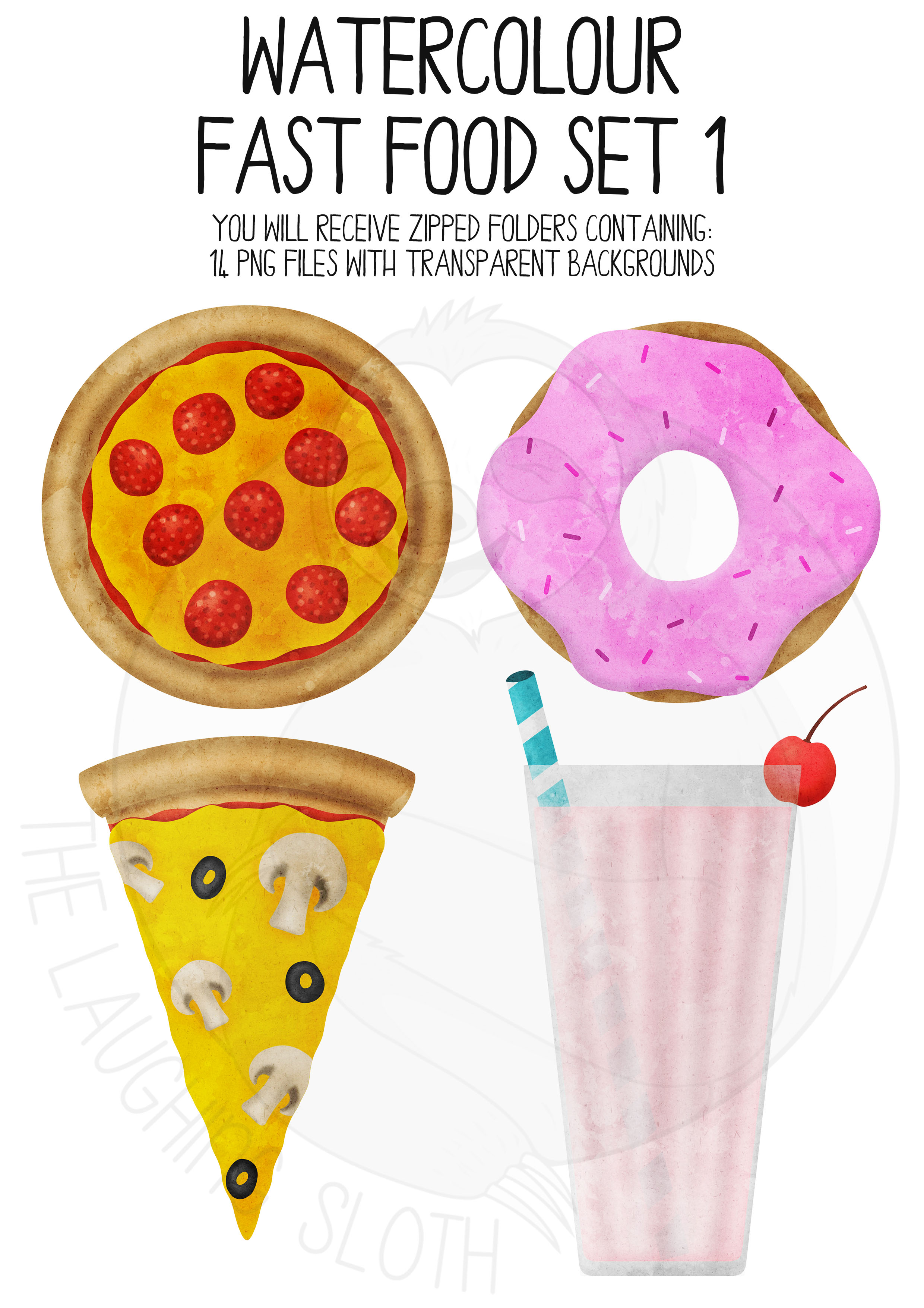 Watercolor Fast Food Clip Art Set example image 4