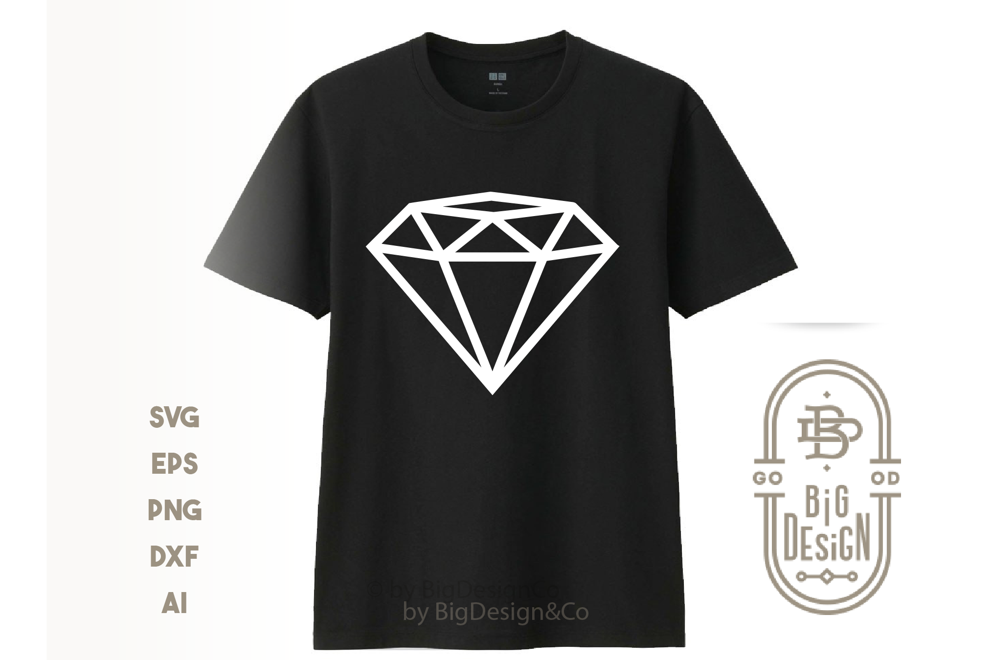 Diamond SVG Cut File , Diamond outline , Engagement Party example image 3