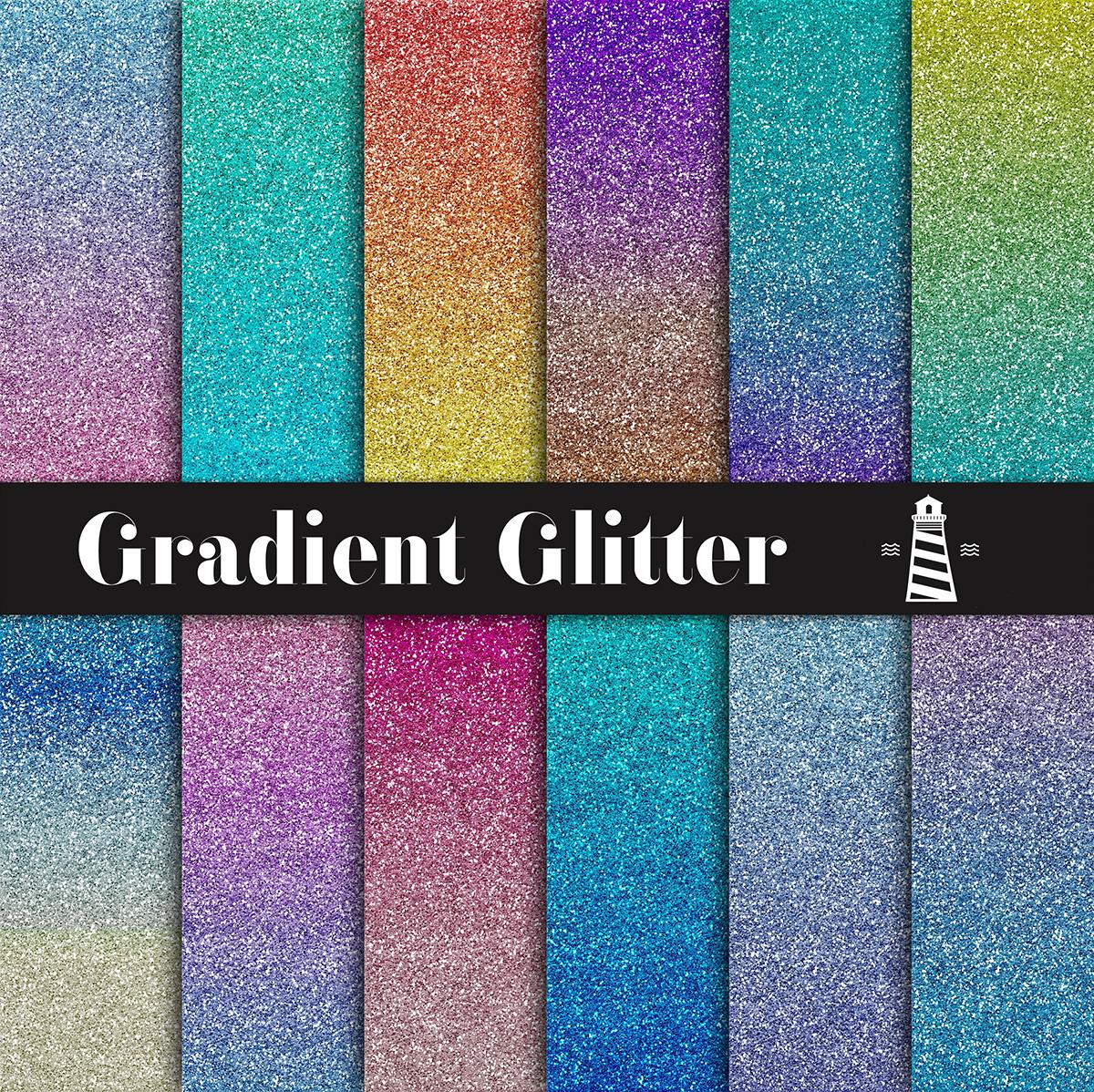 Gradient Glitter Digital Paper example image 1