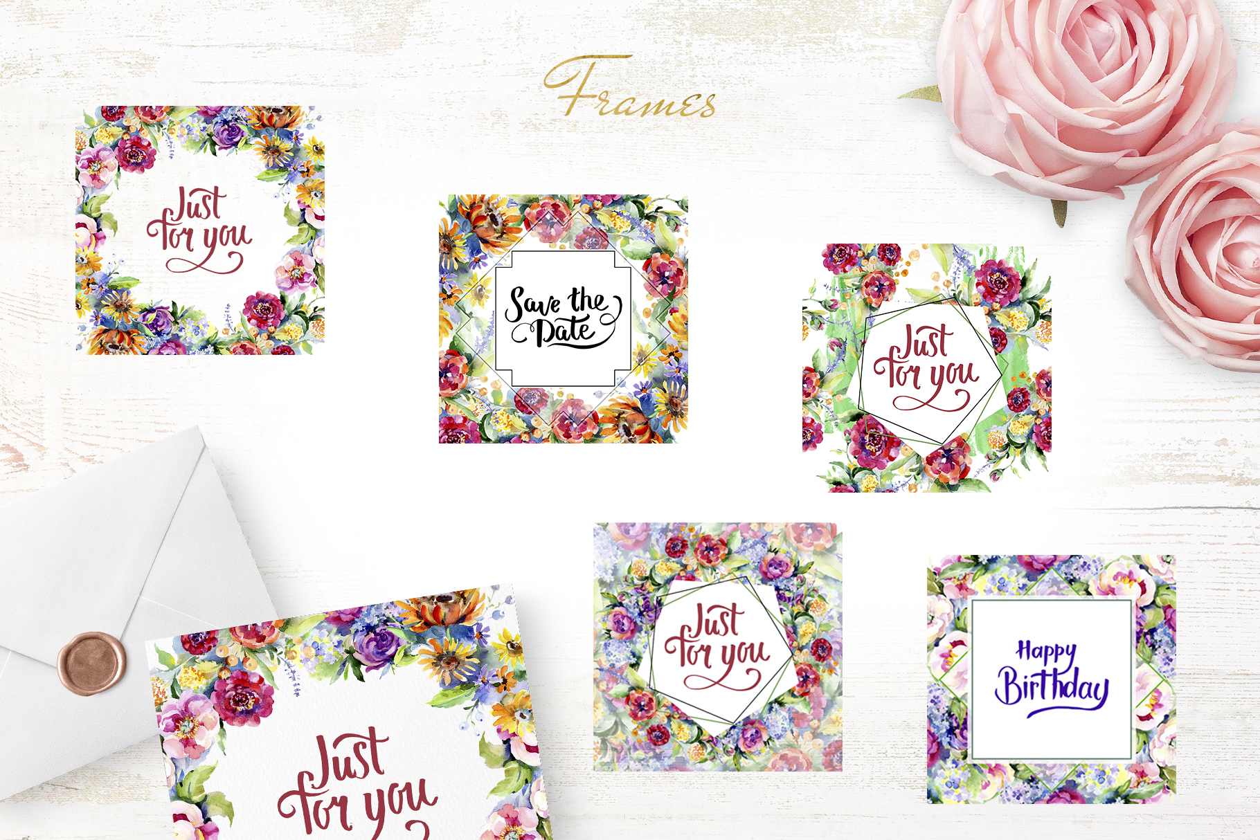 Bouquet of flowers between heaven and earth watercolor png example image 5
