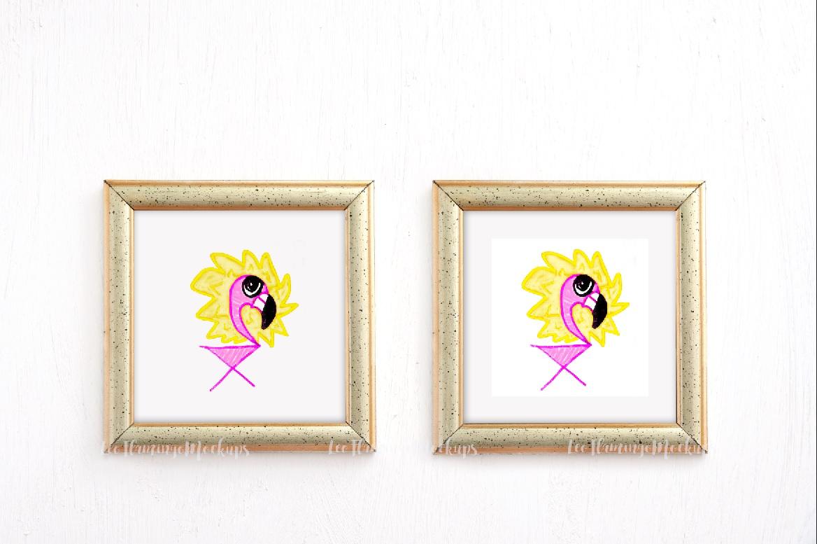 Bundle set of 4, set of 2 frames and one golden square frame mockup minimal art display example image 5