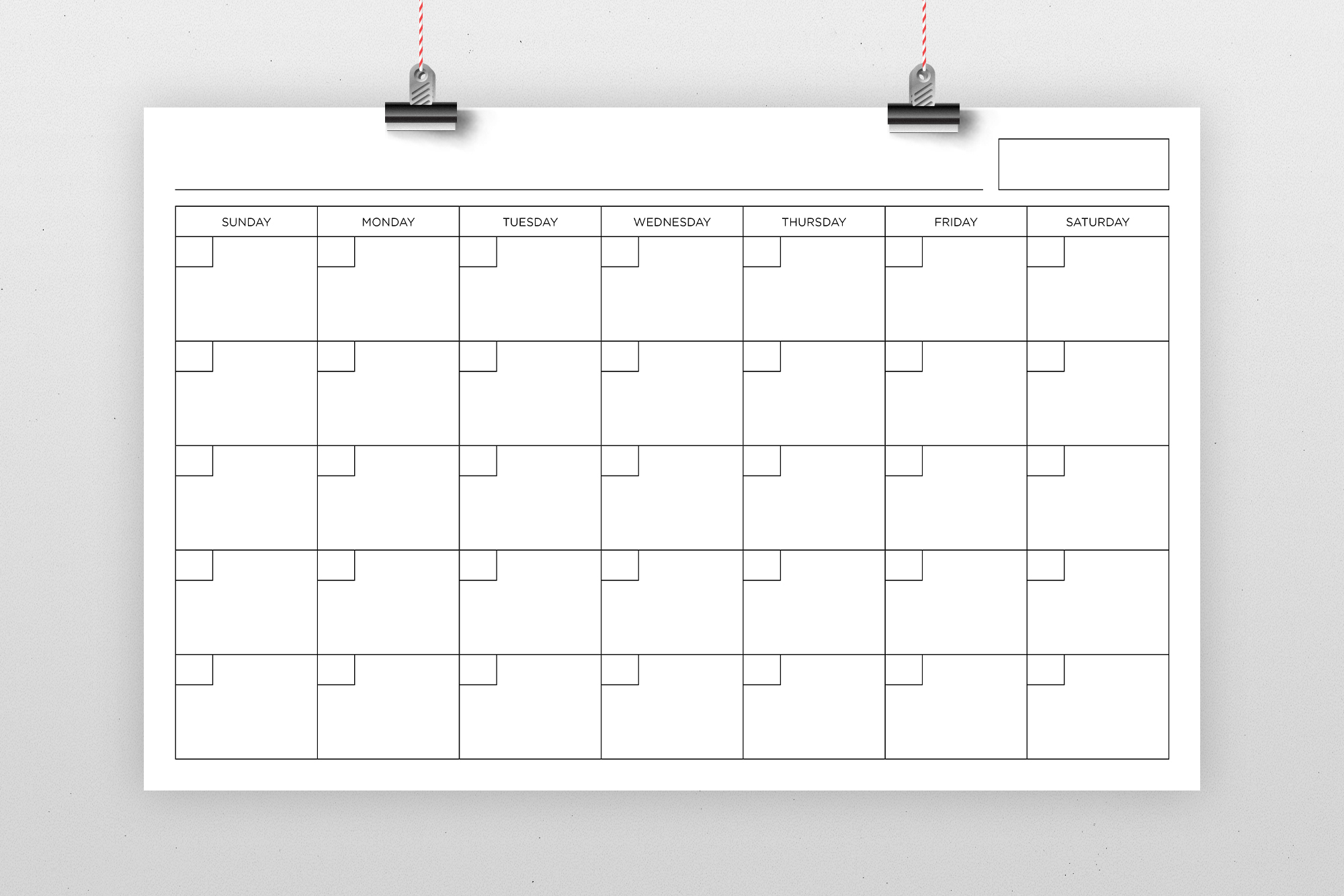 Blank Calendar Page Template Set example image 3