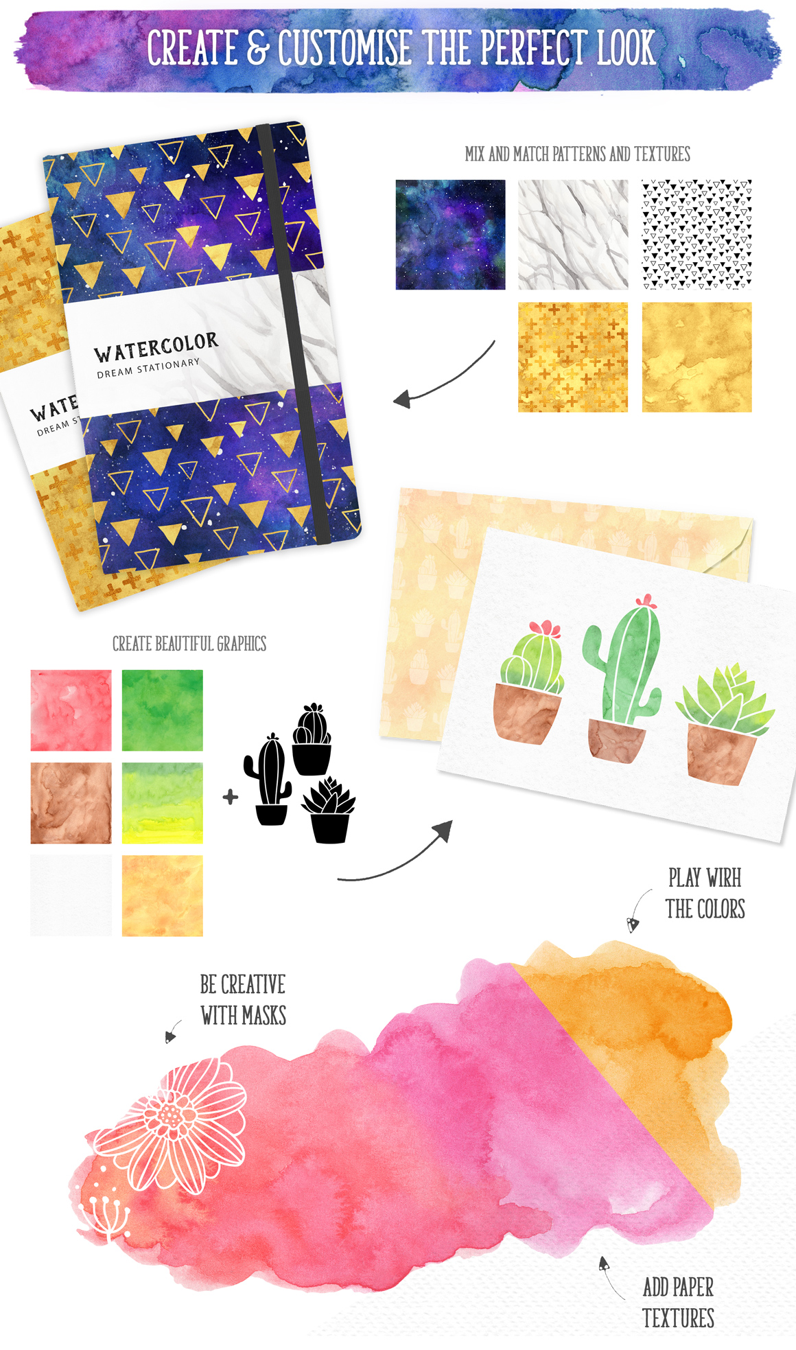 New Watercolor Textures and Graphics Bundle example image 12