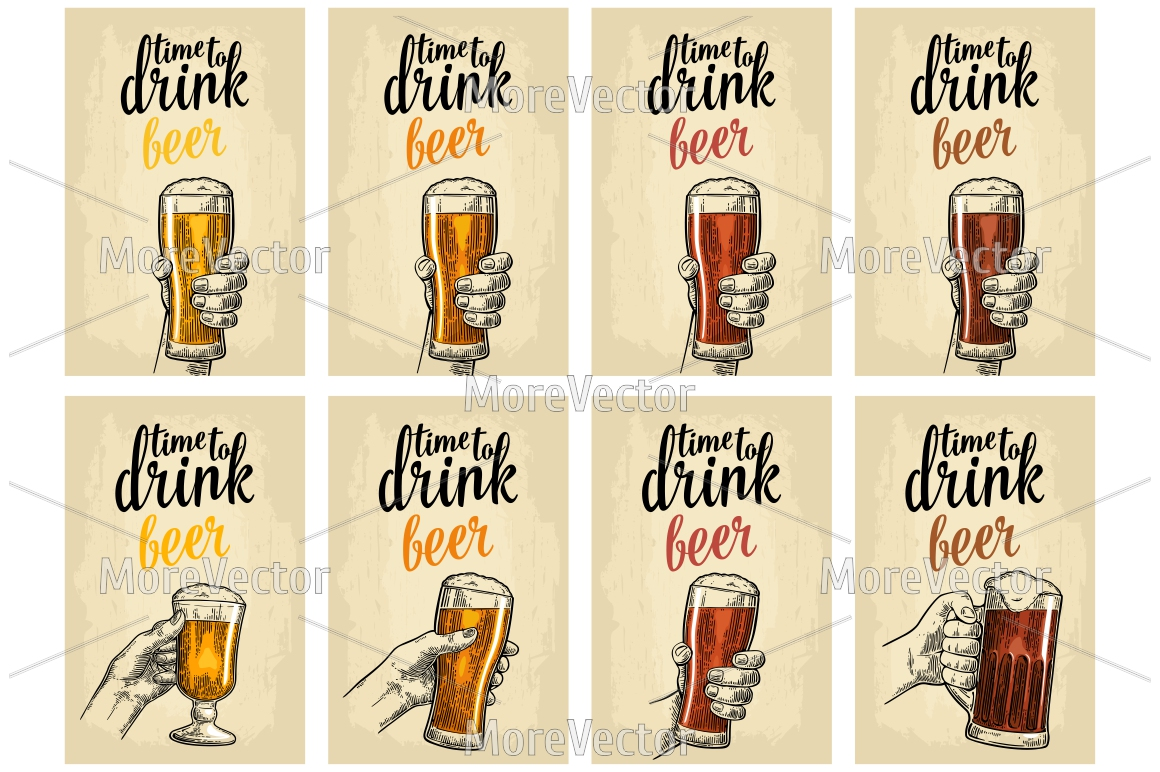 Male hand holding a glass with four types beer - light, white, red and dark example image 1