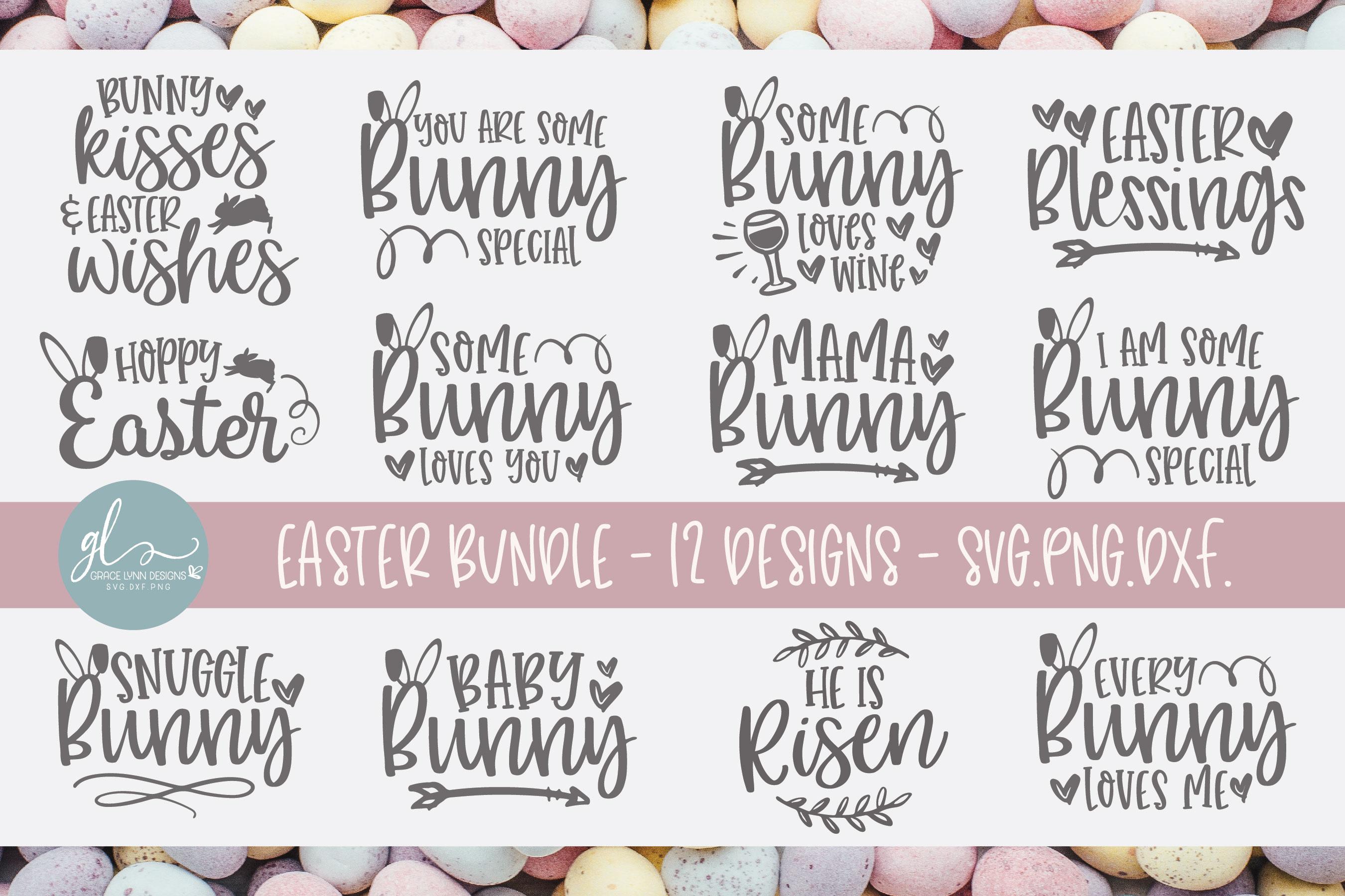 Easter SVG Bundle - 12 Easter Designs - SVG, DXF & PNG example image 1