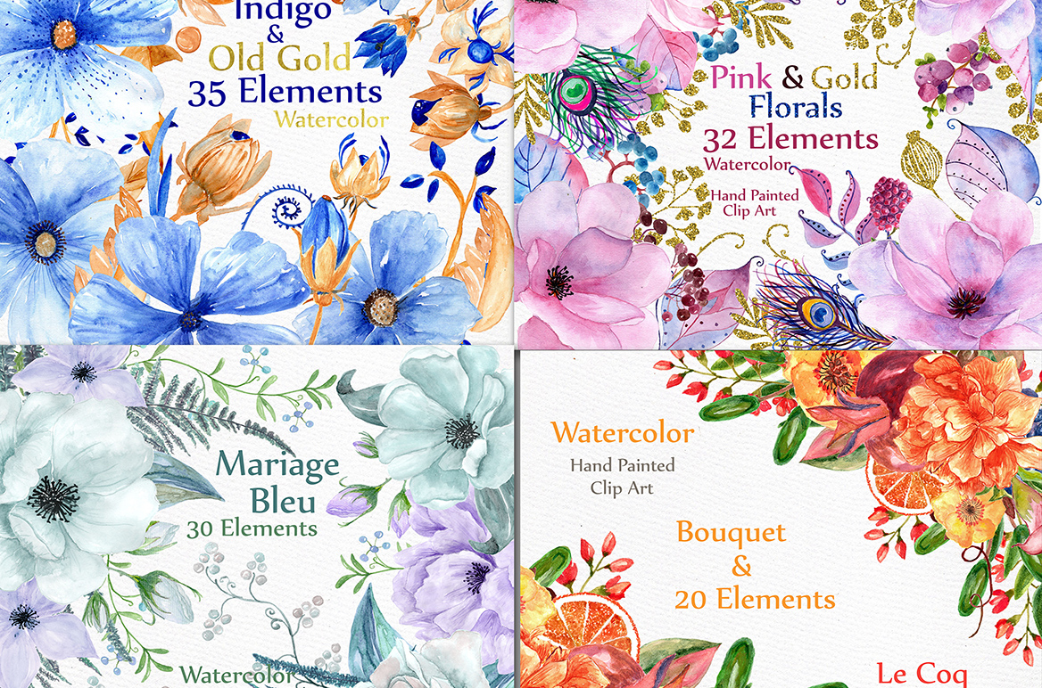 Bundle-Watercolor floral clipart example image 2